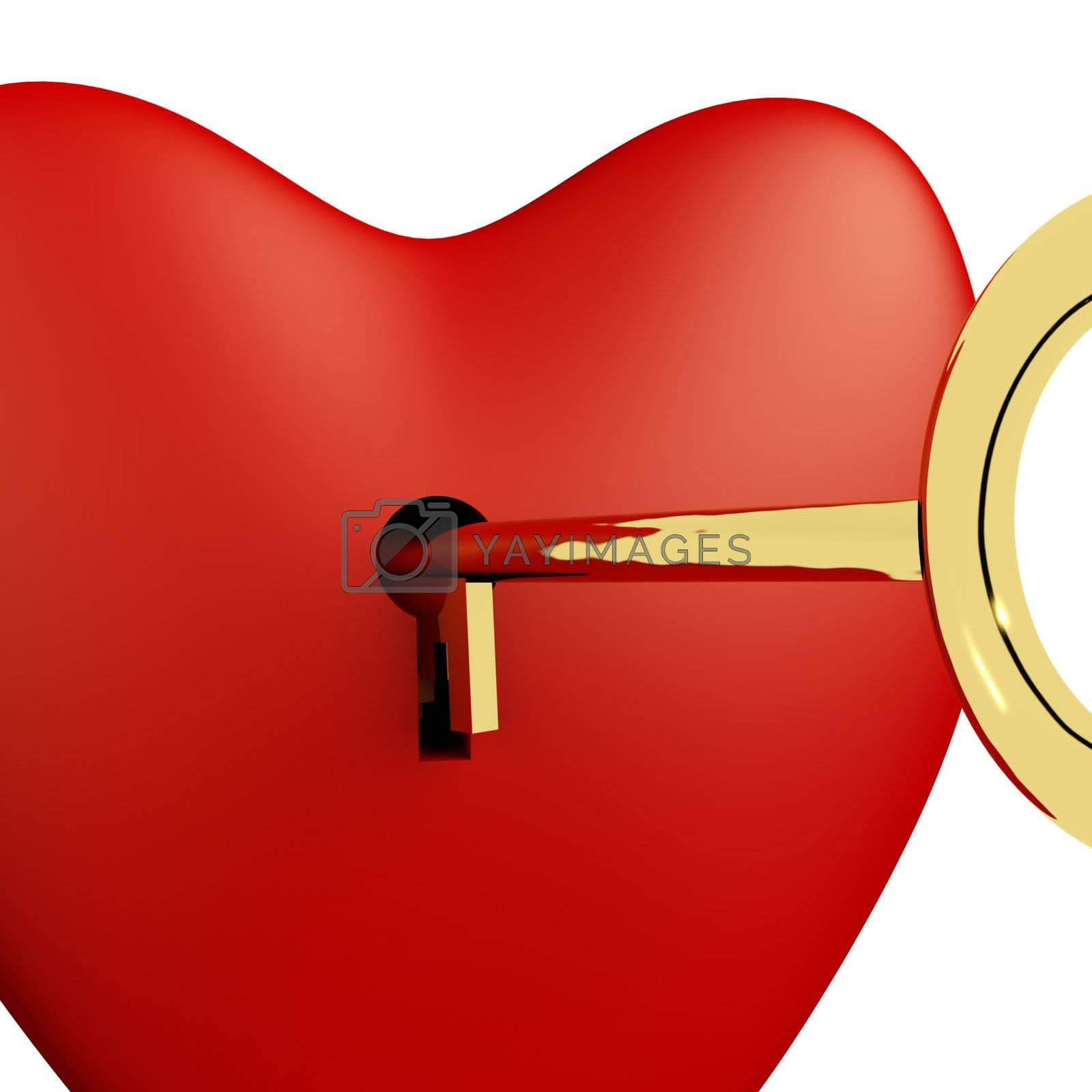 Heart With Key Close Up Showing Love Romance And Valentine