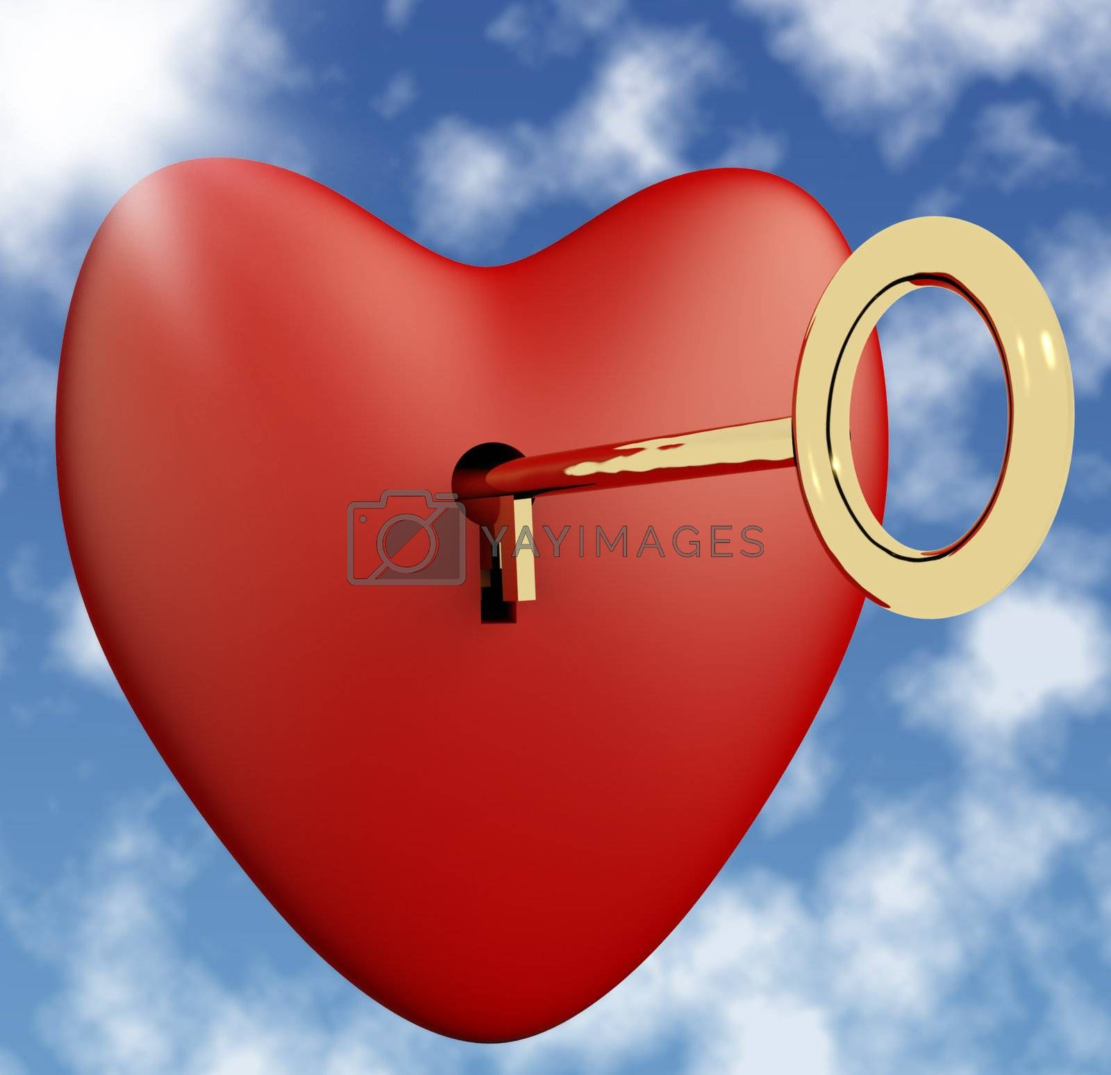 Heart With Key And Sky Background Showing Love Romance And Valentine