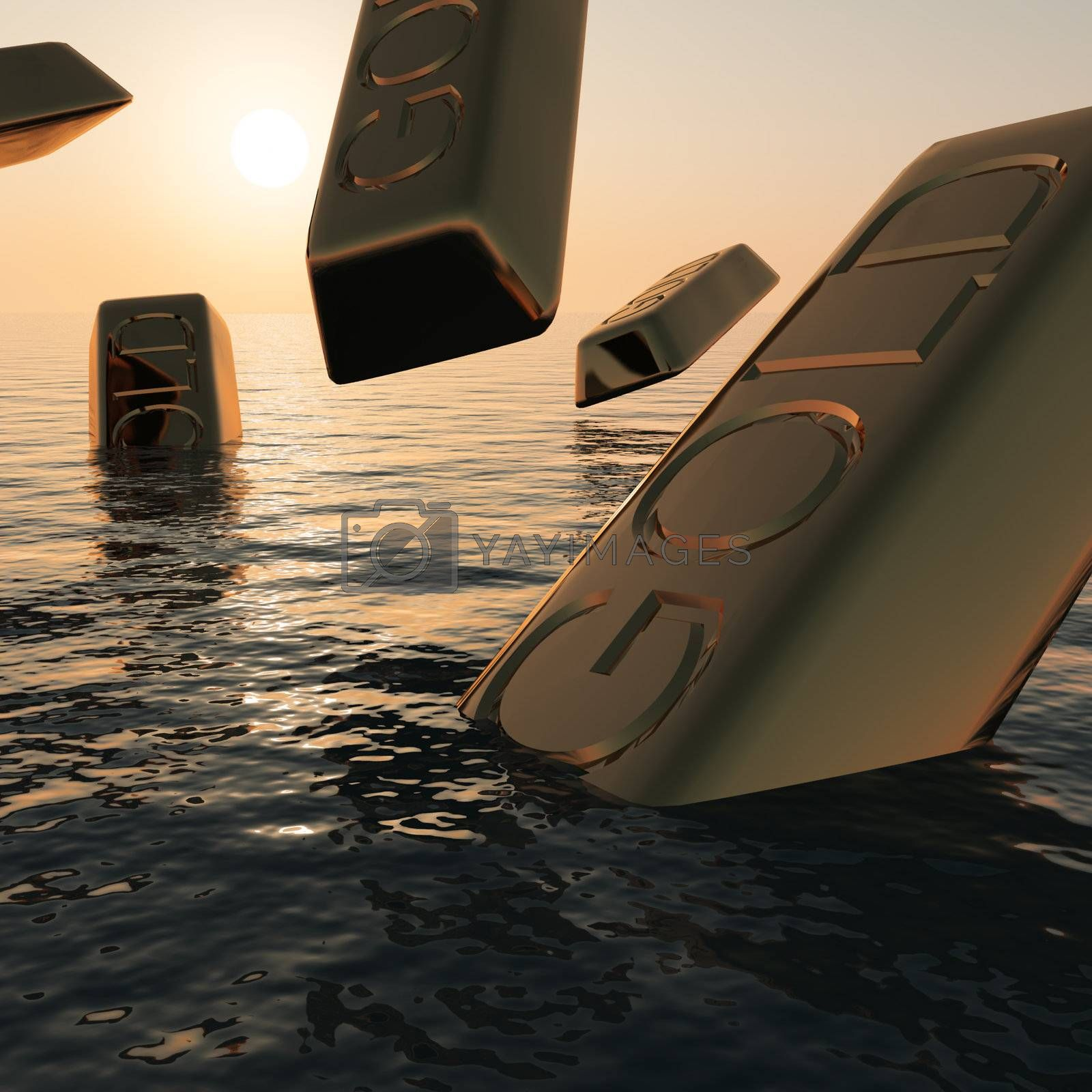 Gold Bars Sinking  Showing Market Depression Recession And Economic Downturns