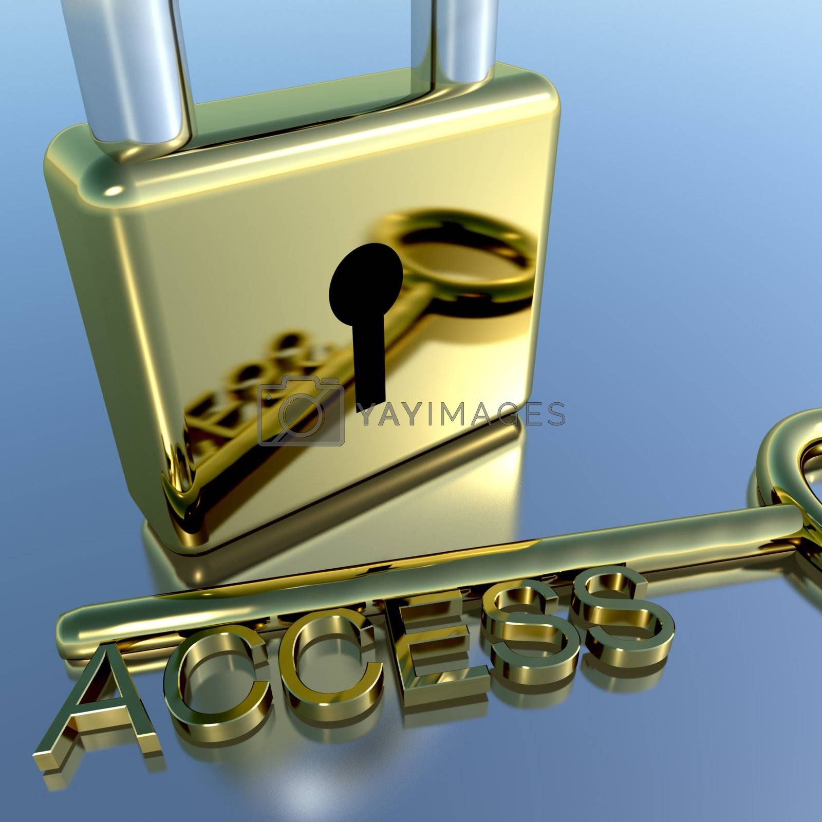 Padlock With Access Key Showing Permission Security And Logins