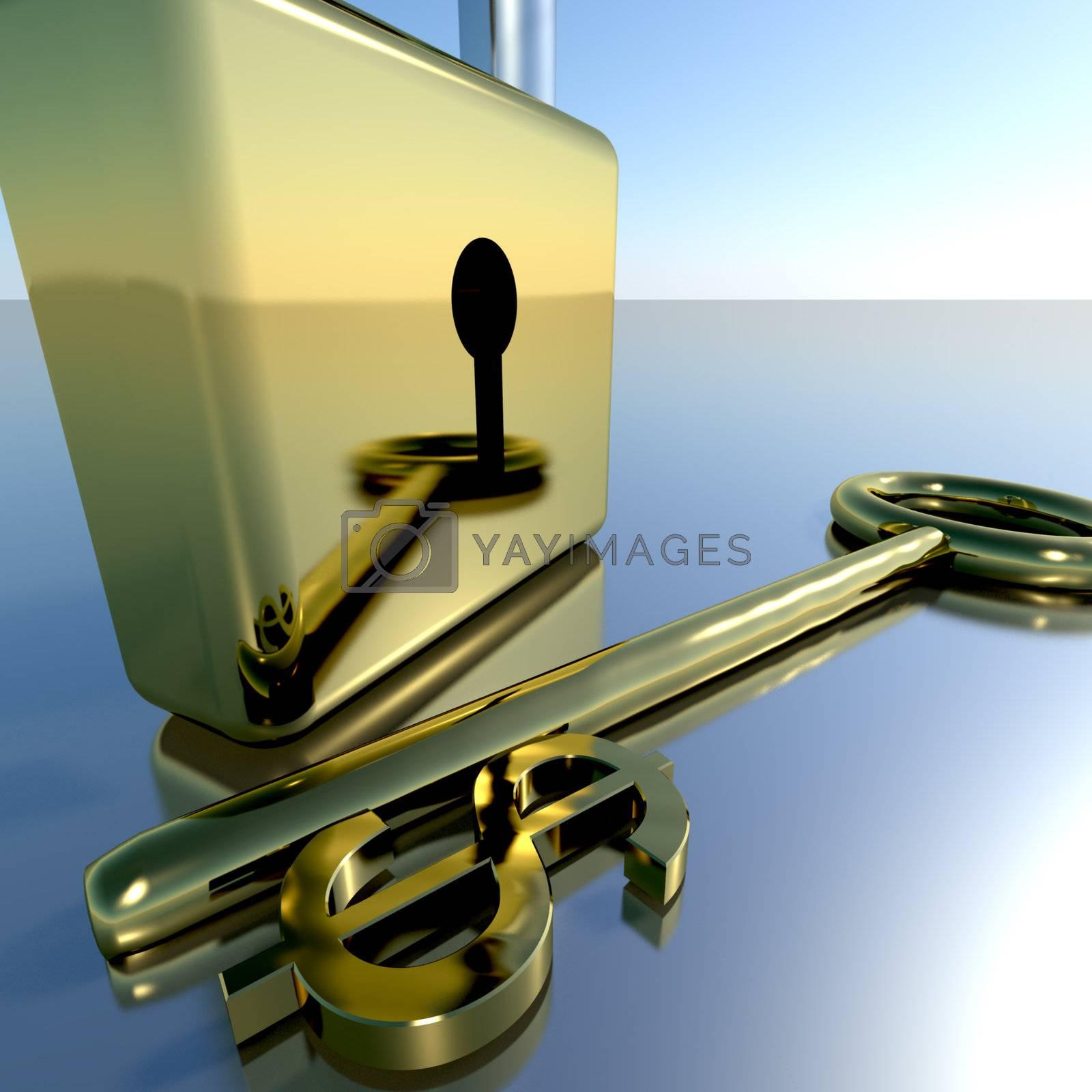 Dollar Key With Padlock Showing Banking Savings And Finances