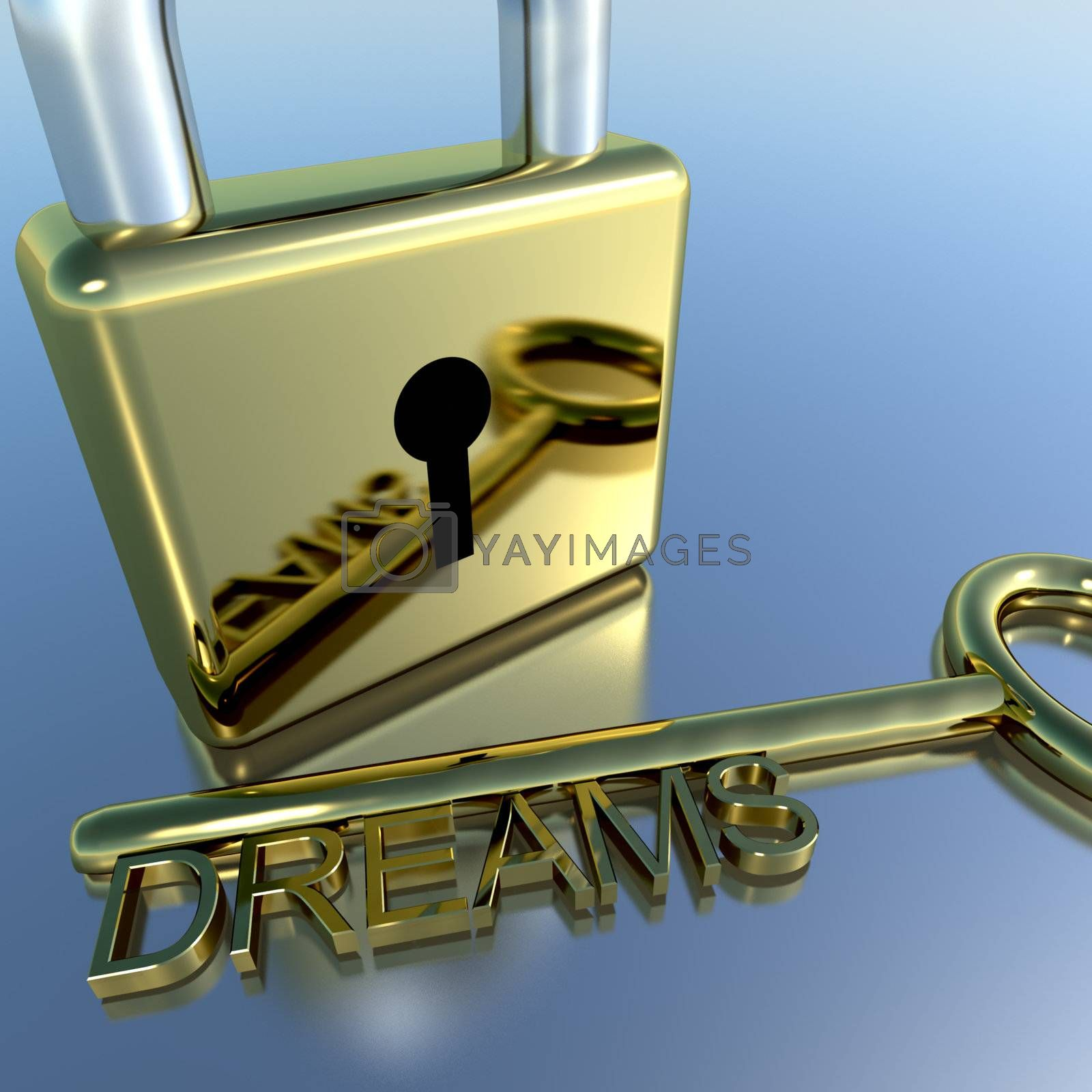 Padlock With Dreams Key Showing Wishes Hopes And Future