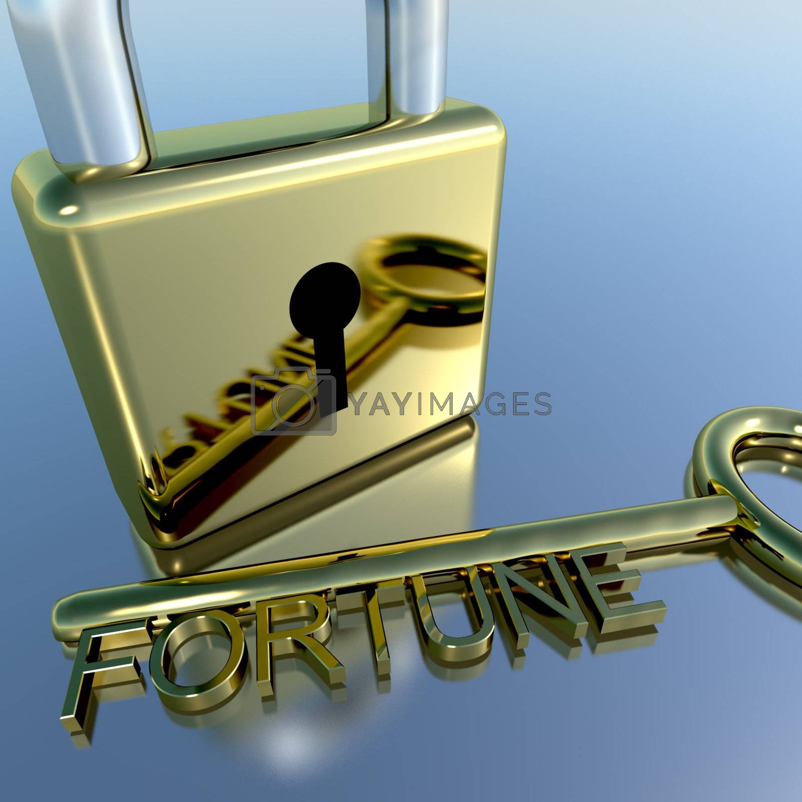 Padlock With Fortune Key Showing Luck Successes And Riches