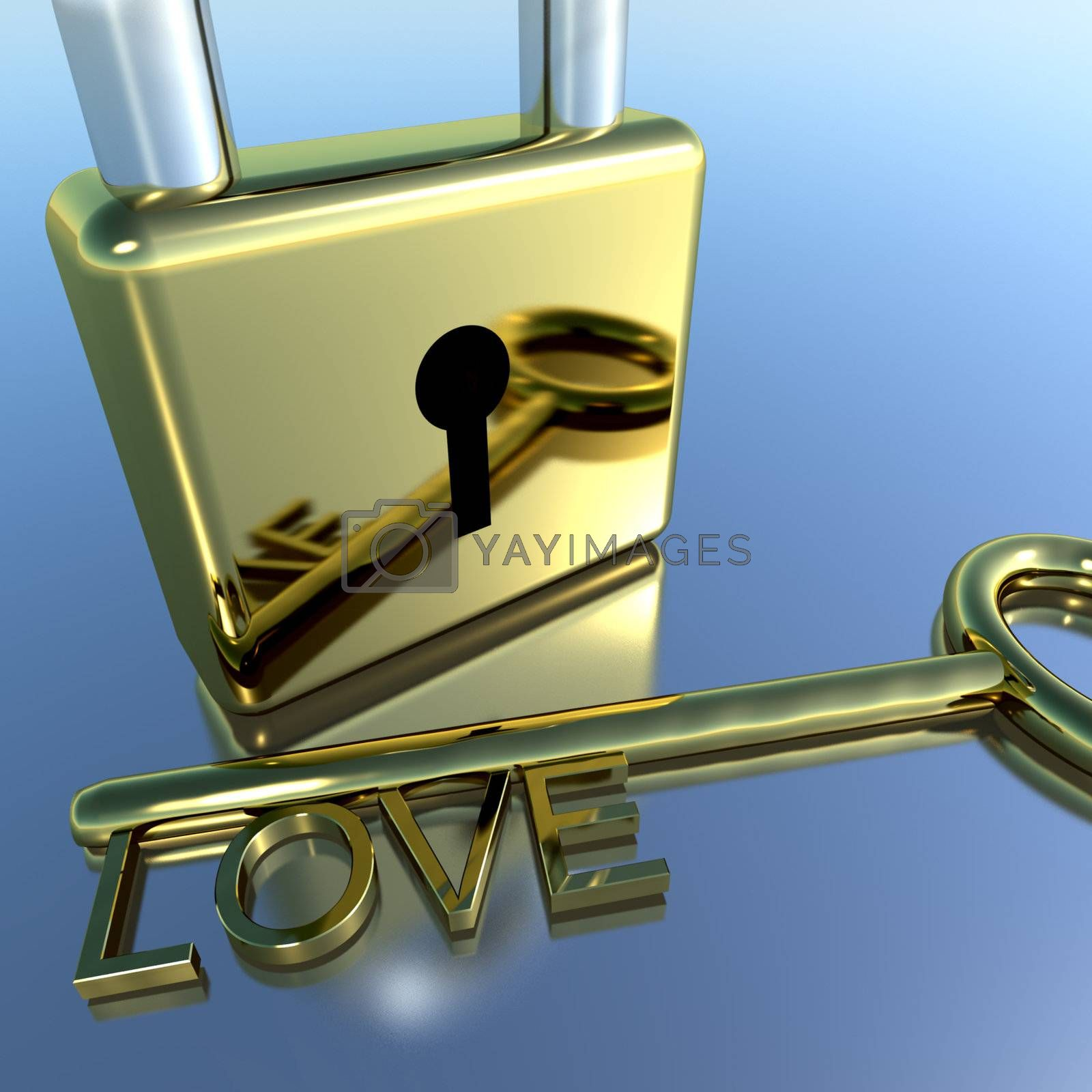 Padlock With Love Key Showing Romance Valentines Or Lovers
