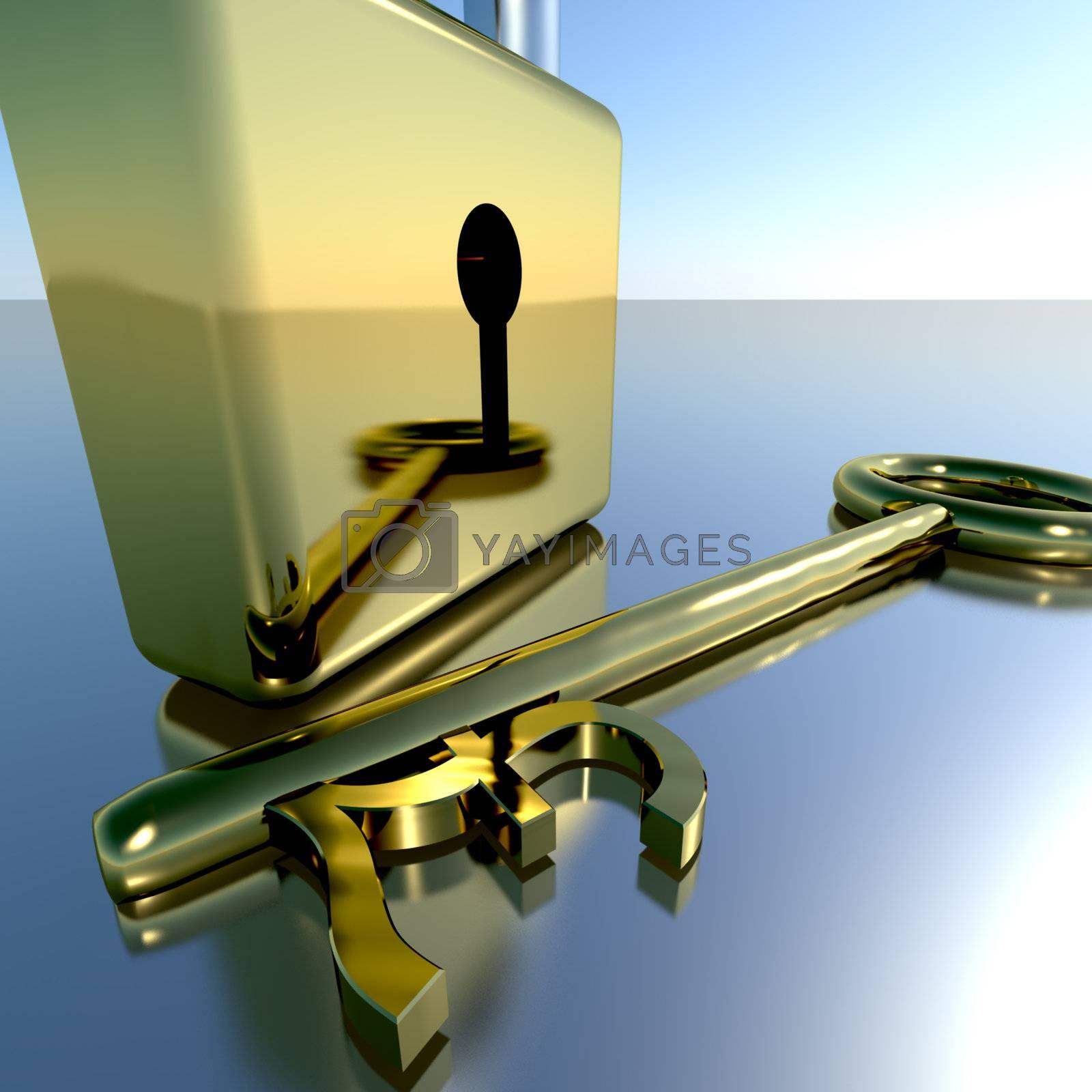 Pound Key With Padlock Showing Banking Savings And Finances