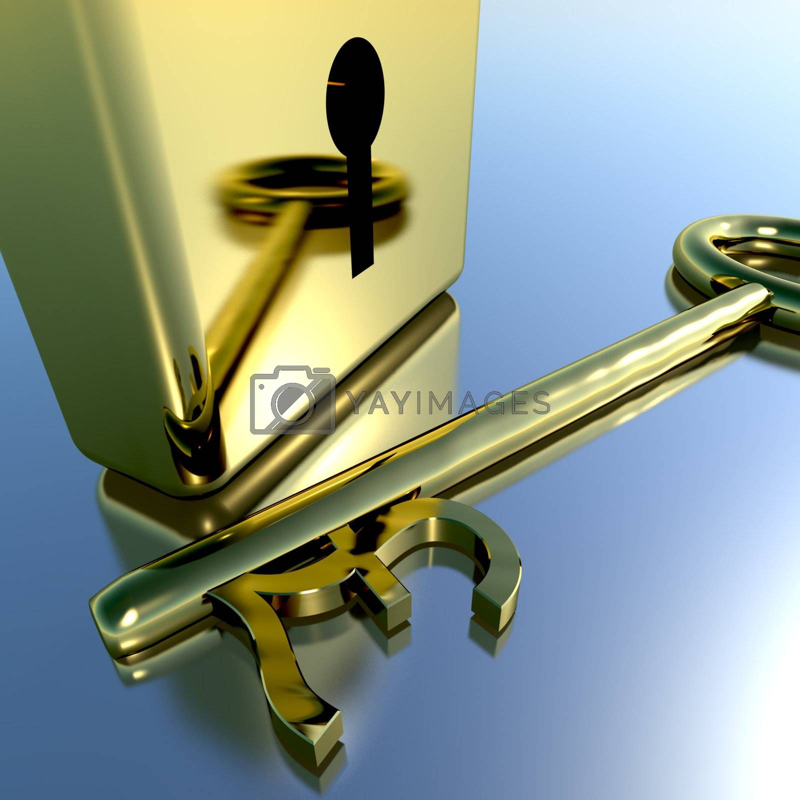 Pound Key With Gold Padlock Showing Banking Savings And Finances