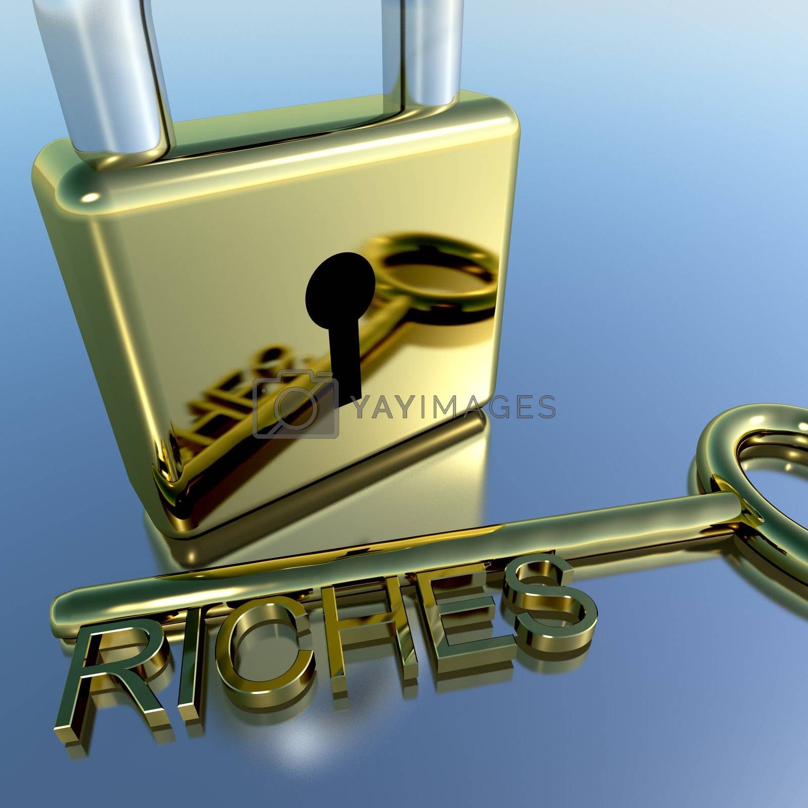 Padlock With Riches Key Showing Wealth Savings And Fortunes