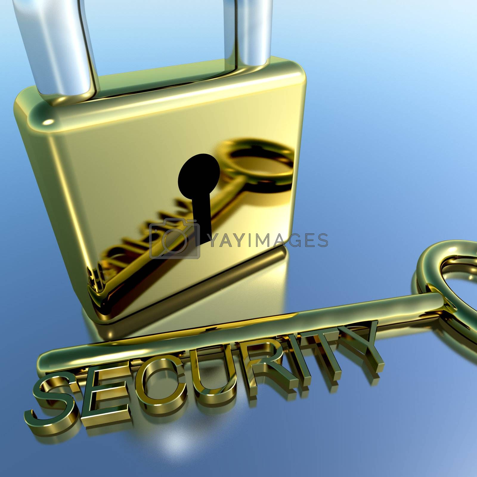 Padlock With Security Key Showing Protection Encryption Or Safety