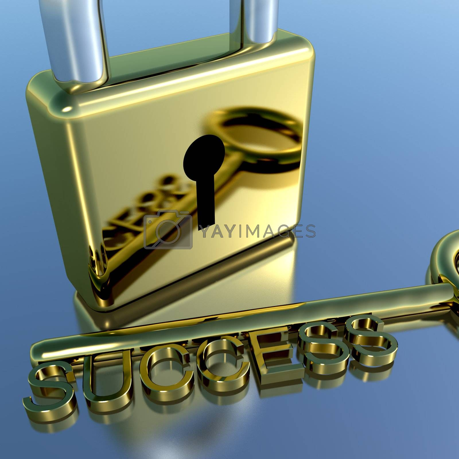 Padlock With Success Key Showing Strategy Planning Or Solutions