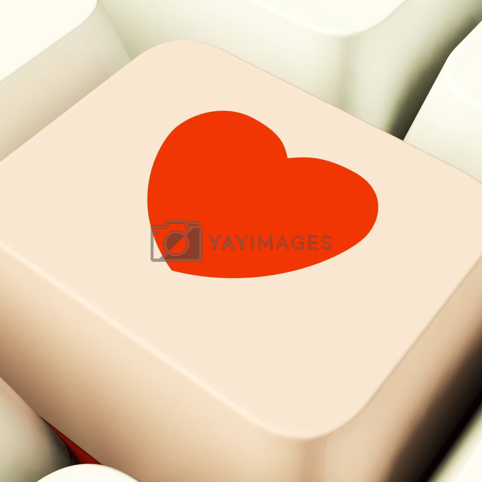 Heart Icon On Pink Computer Key Showing Love And Romance For Valentine