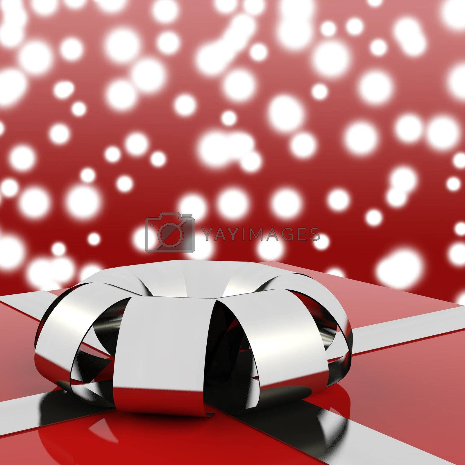 Red Giftbox With Stars Background For Womans Birthday
