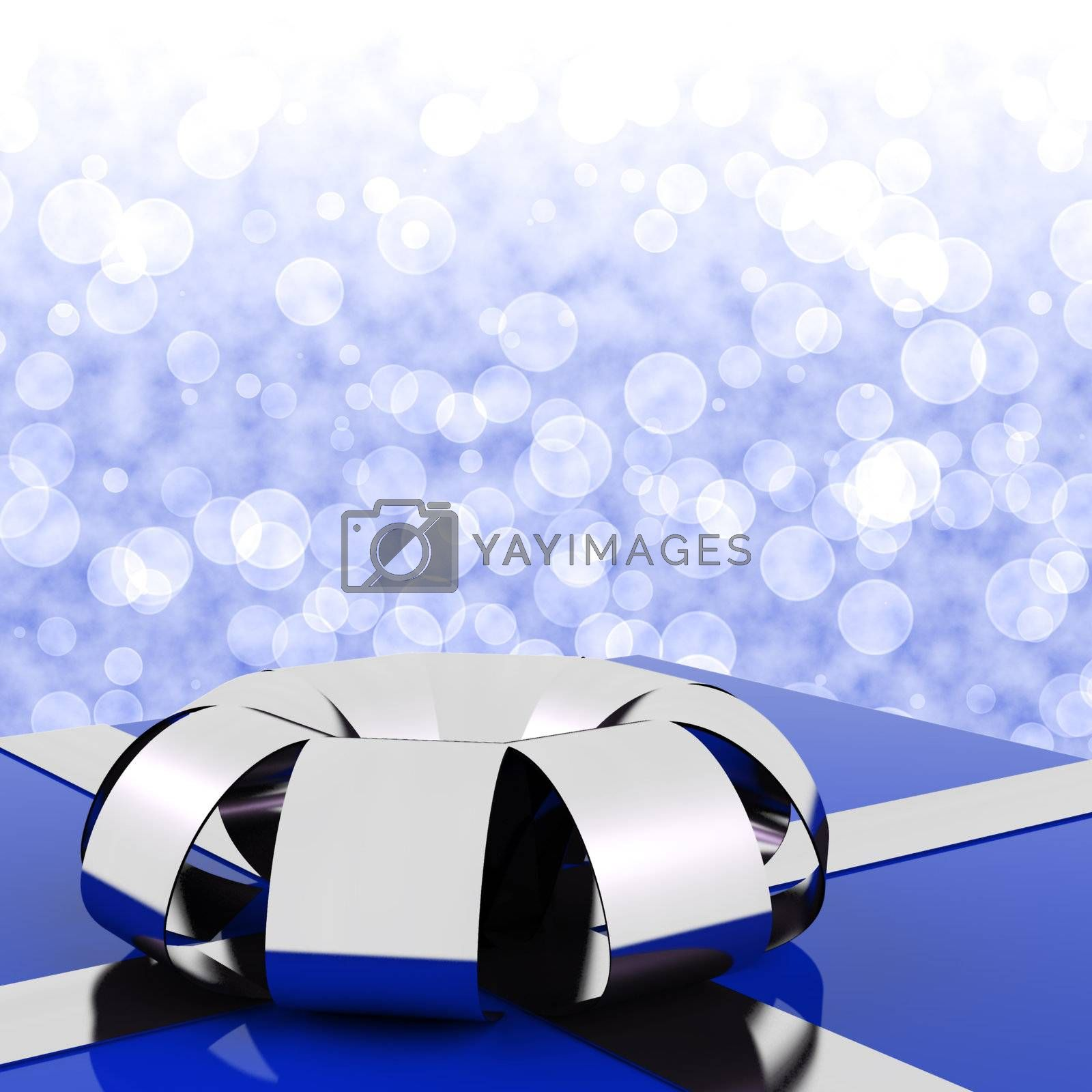 Blue Giftbox With Bokeh Background For A Husbands Birthday
