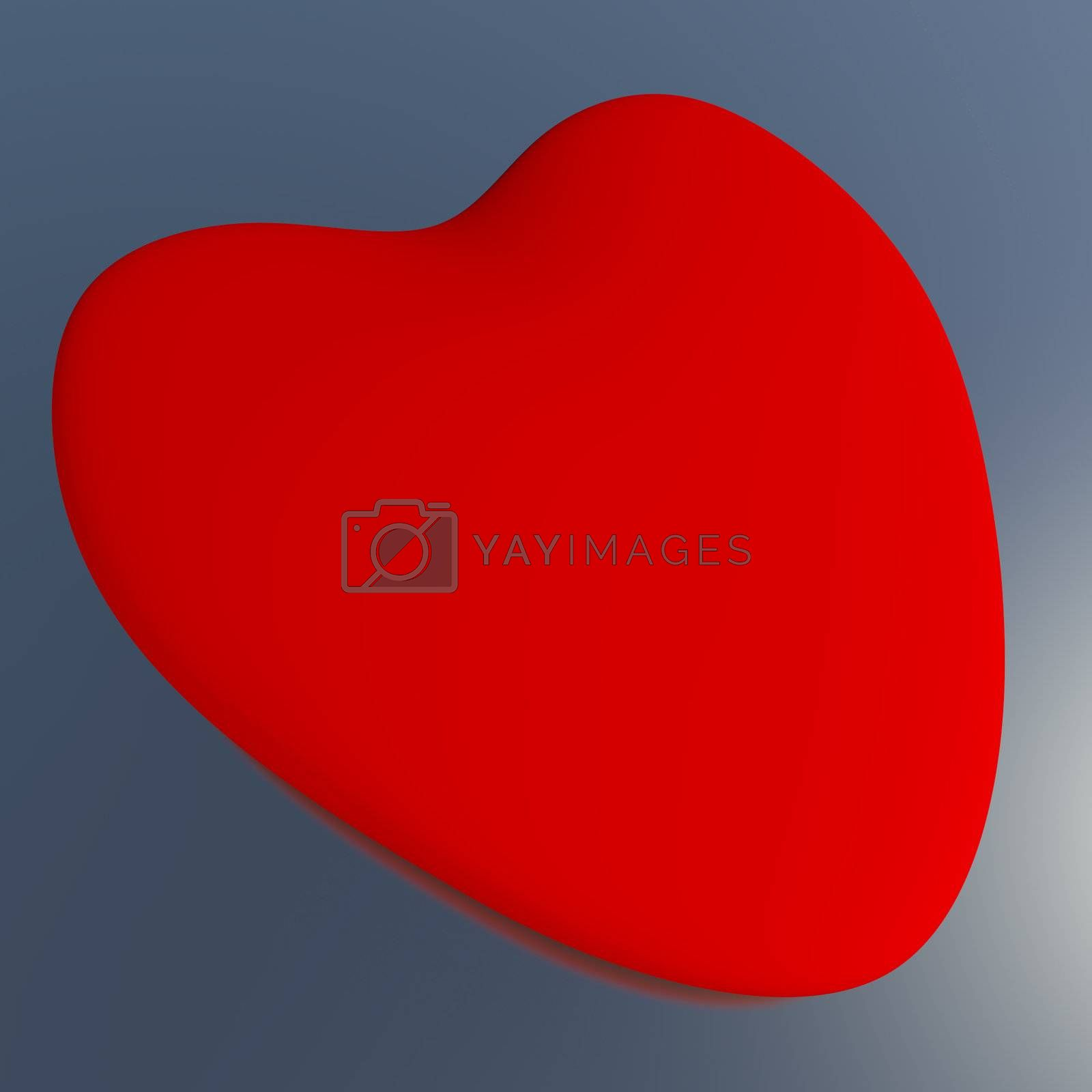 Heart On A Blue Background Showing Love Romance And Valentine