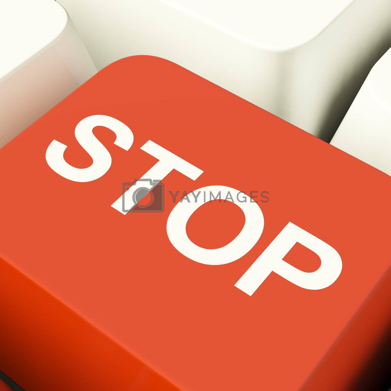 Stop Computer Key Showing Denial Panic Or Negativity