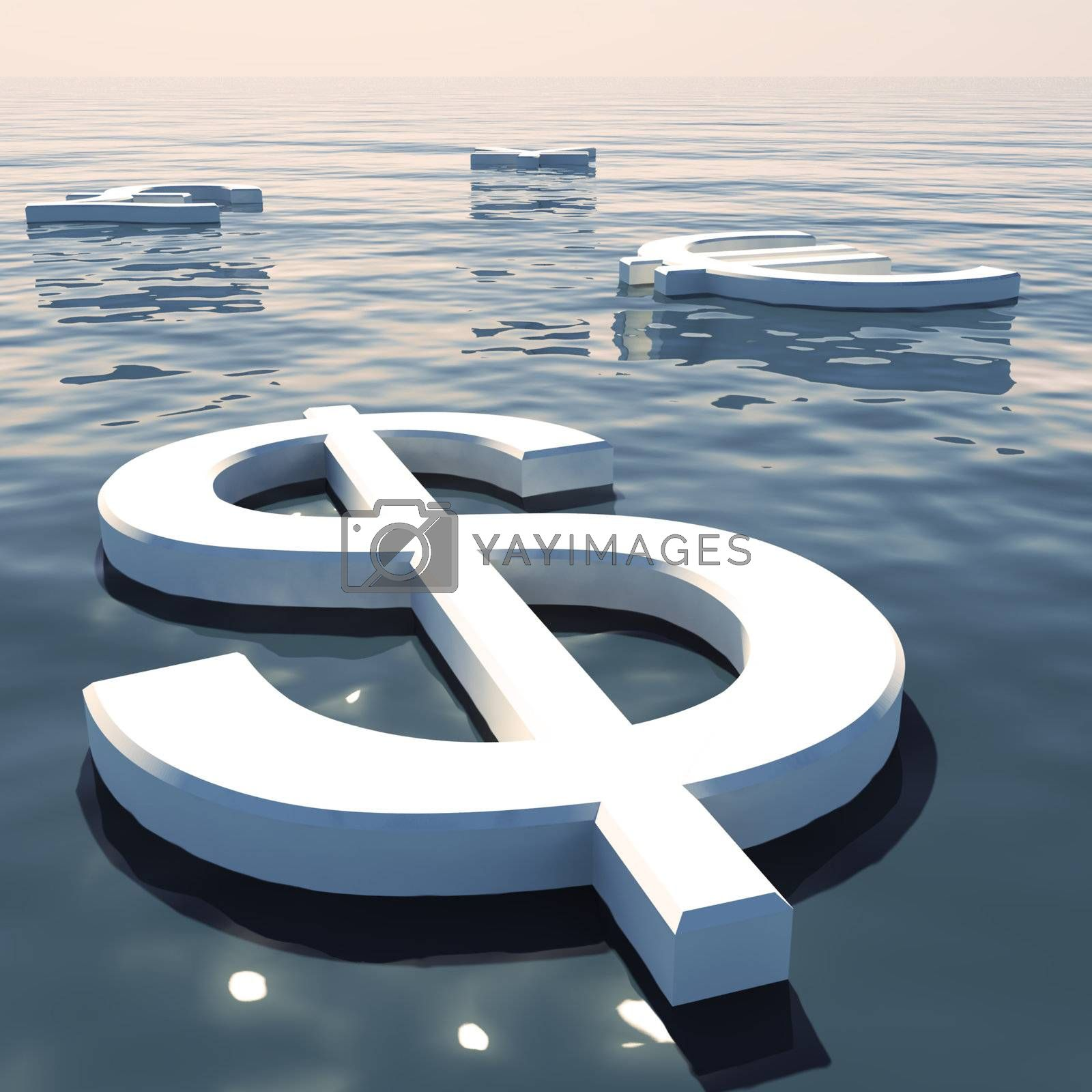 Dollar Floating And Currencies Going Away Showing Money Exchange And Forex