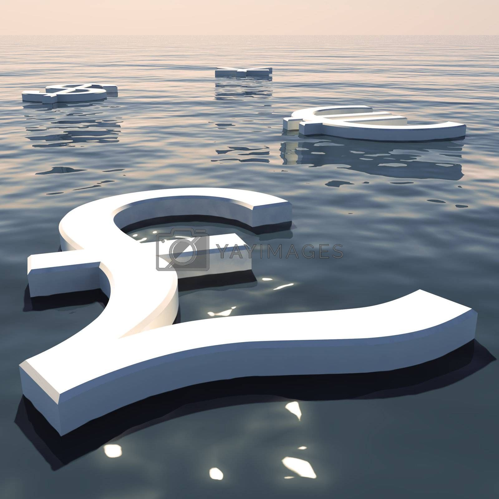 Pound Floating And Currencies Going Away Showing Money Exchange And Forex