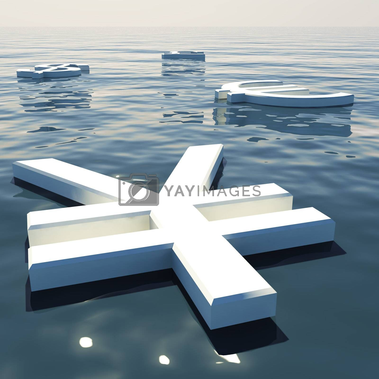 Yen Floating And Currencies Going Away Showing Money Exchange And Forex