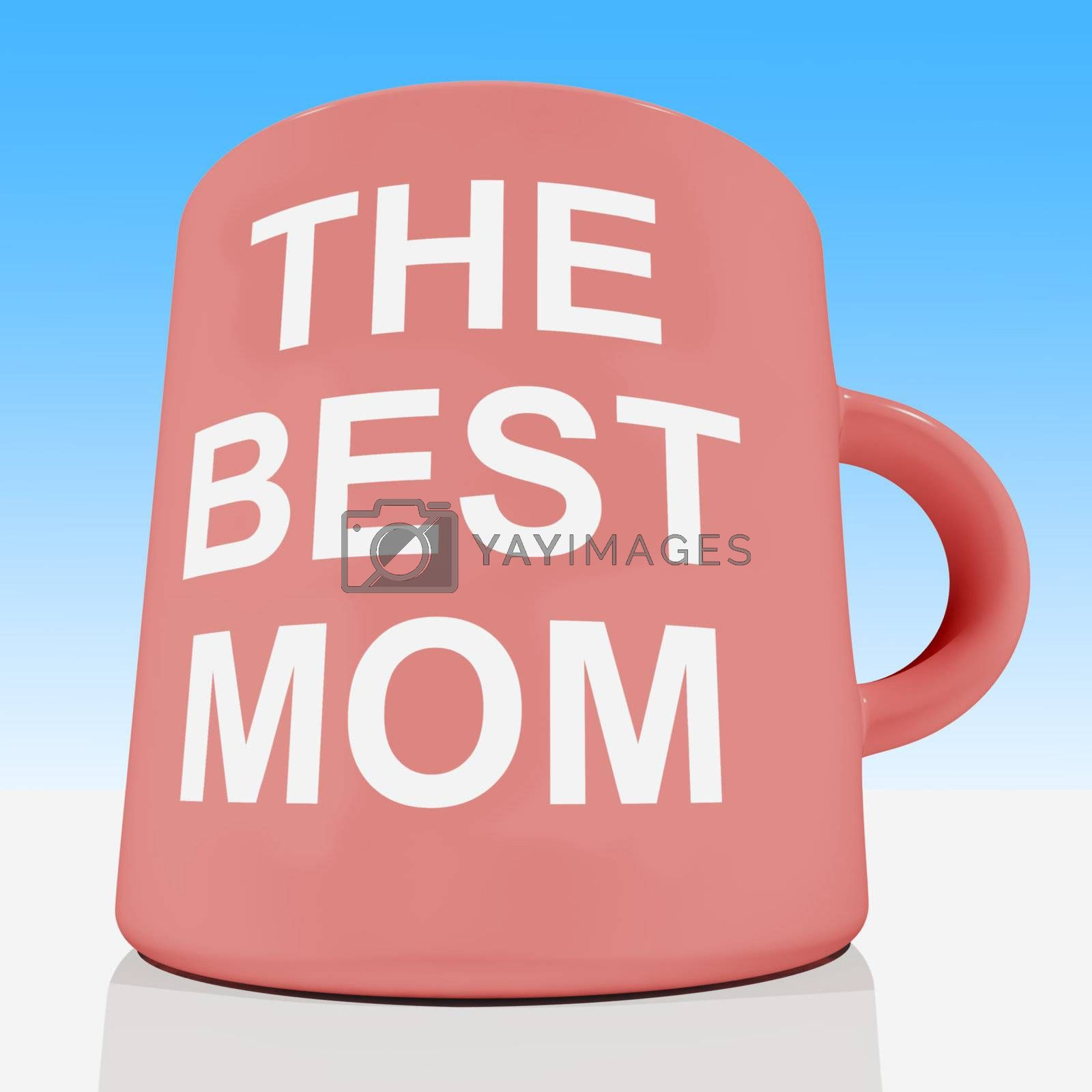 The Best Mom Mug With Sky Background Showing Loving Mother