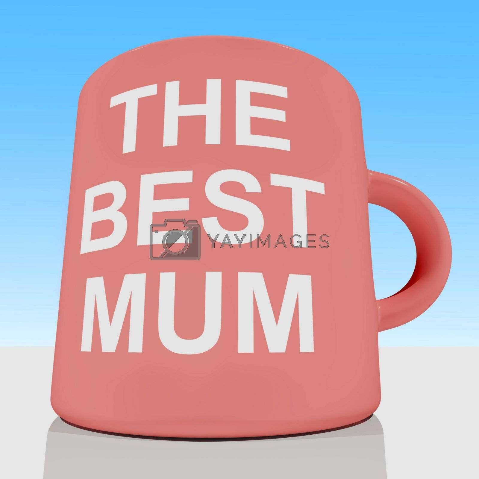 The Best Mum Mug With Sky Background Showing Loving Mother