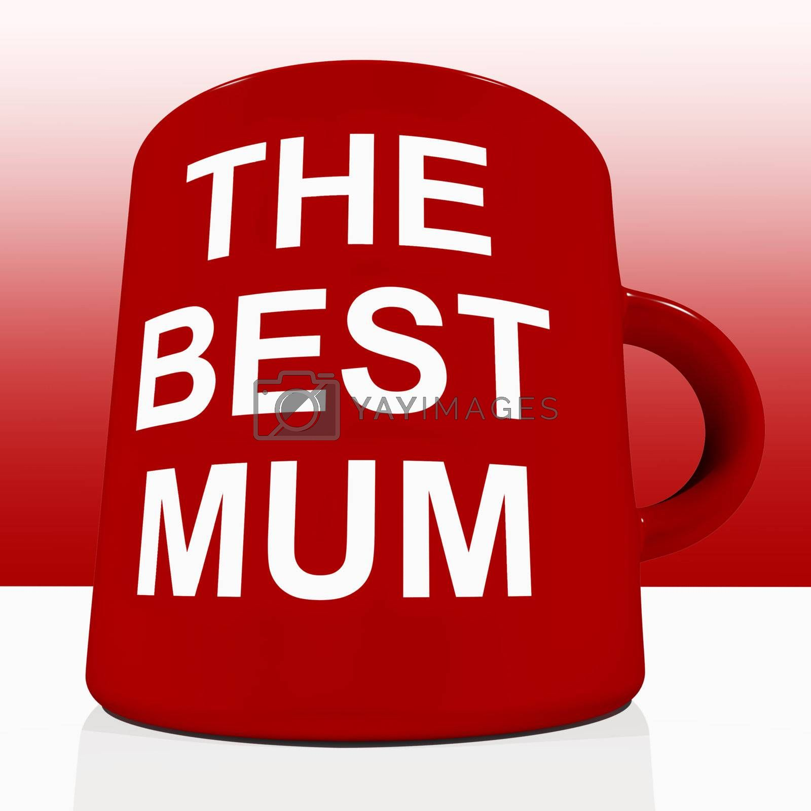 Red Best Mum Mug On Table Showing Loving Mother