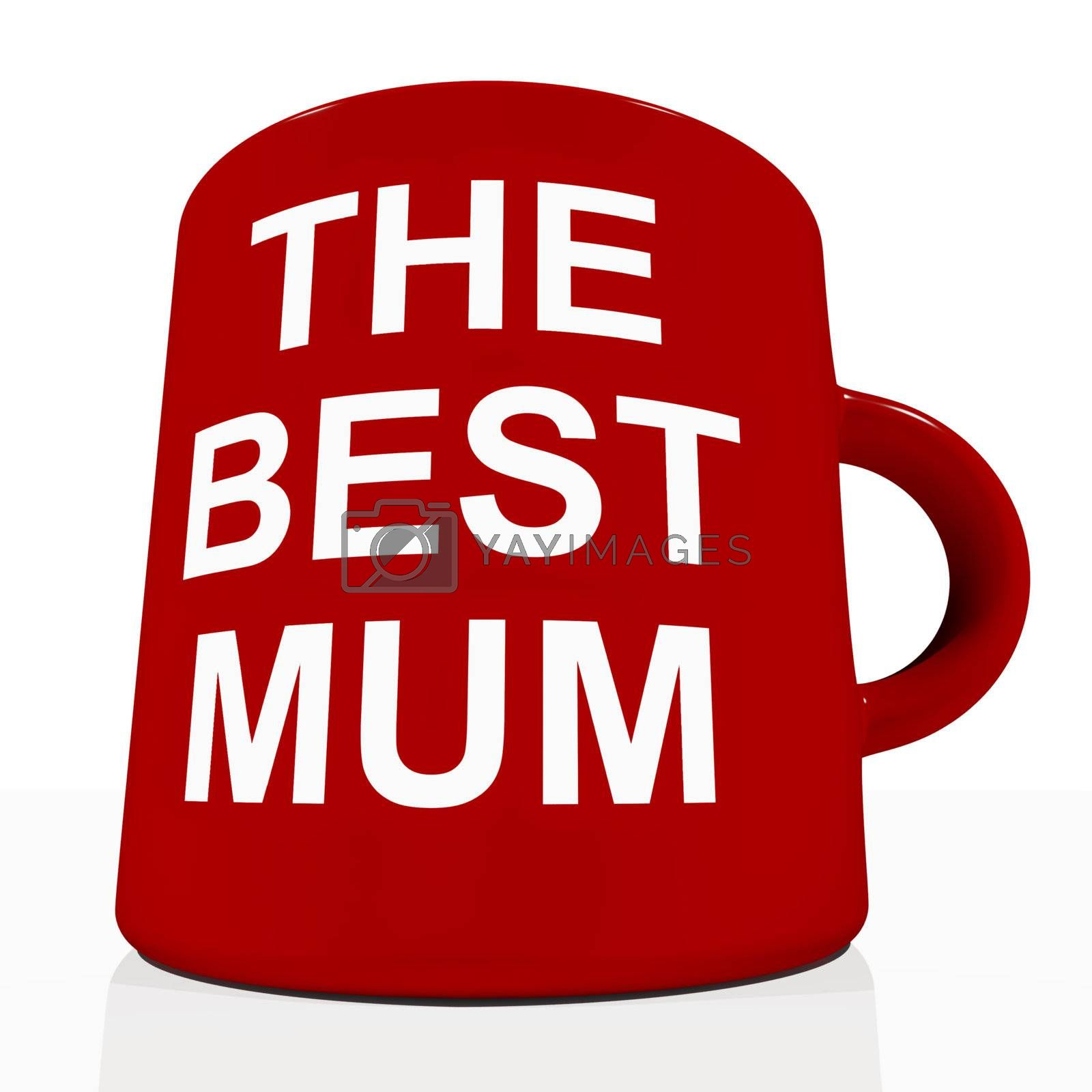 Red Best Mum Mug Showing Loving Mother