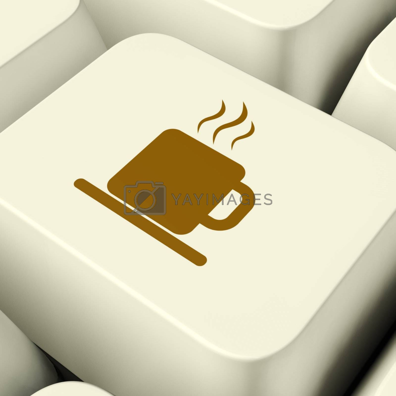 Coffee Mug Icon Computer White Key For Taking A Break