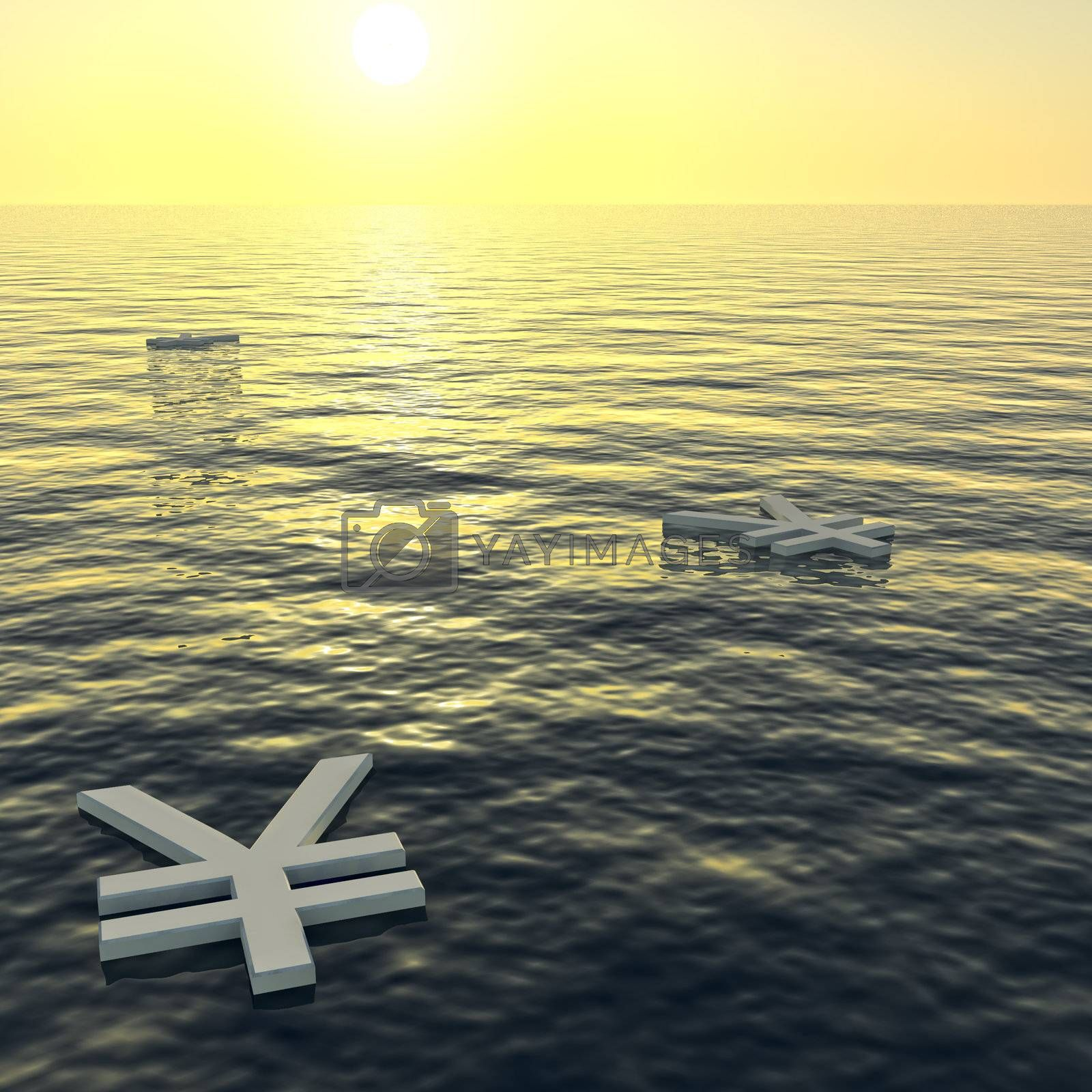 Yen Floating To A Sunset Showing Money Wealth Or Earning