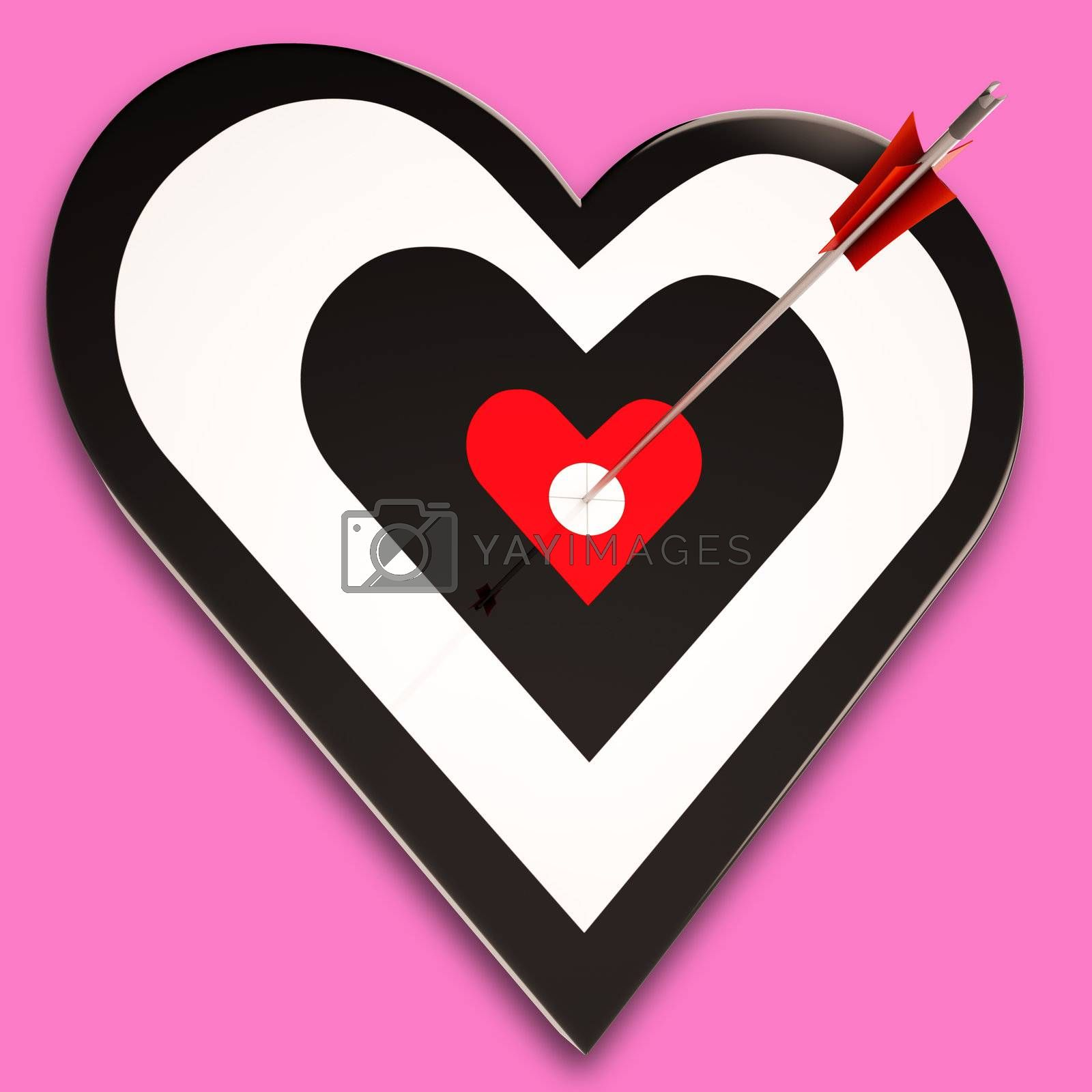 Heart Target Showing Passion, Romance And Emotion