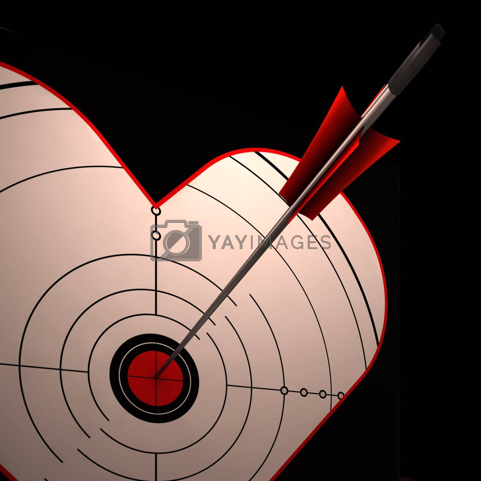 Heart Target Showing Perfect Couple For Romance Wedding