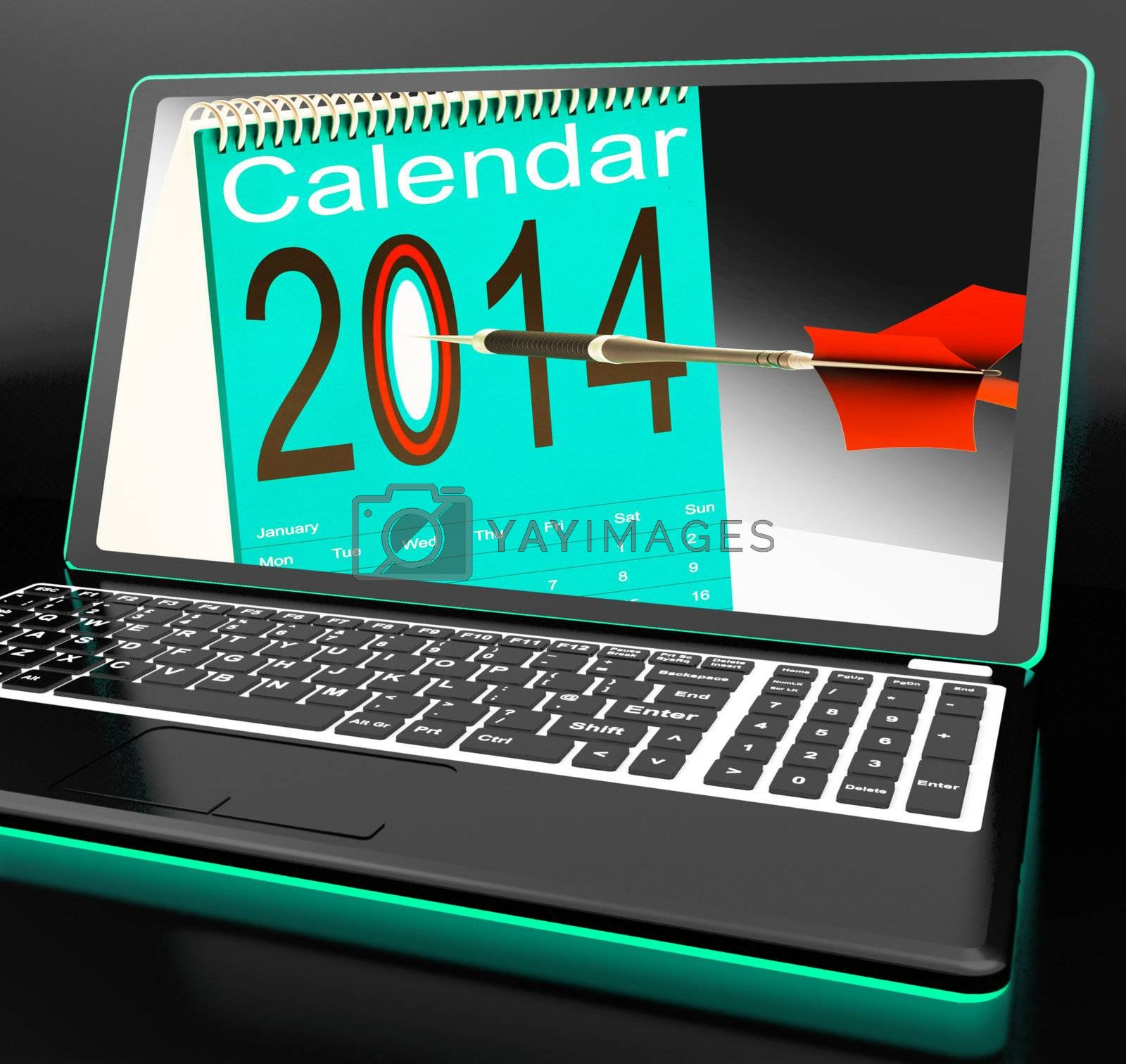 Calendar 2014 On Laptop Showing Future Plans And Goals