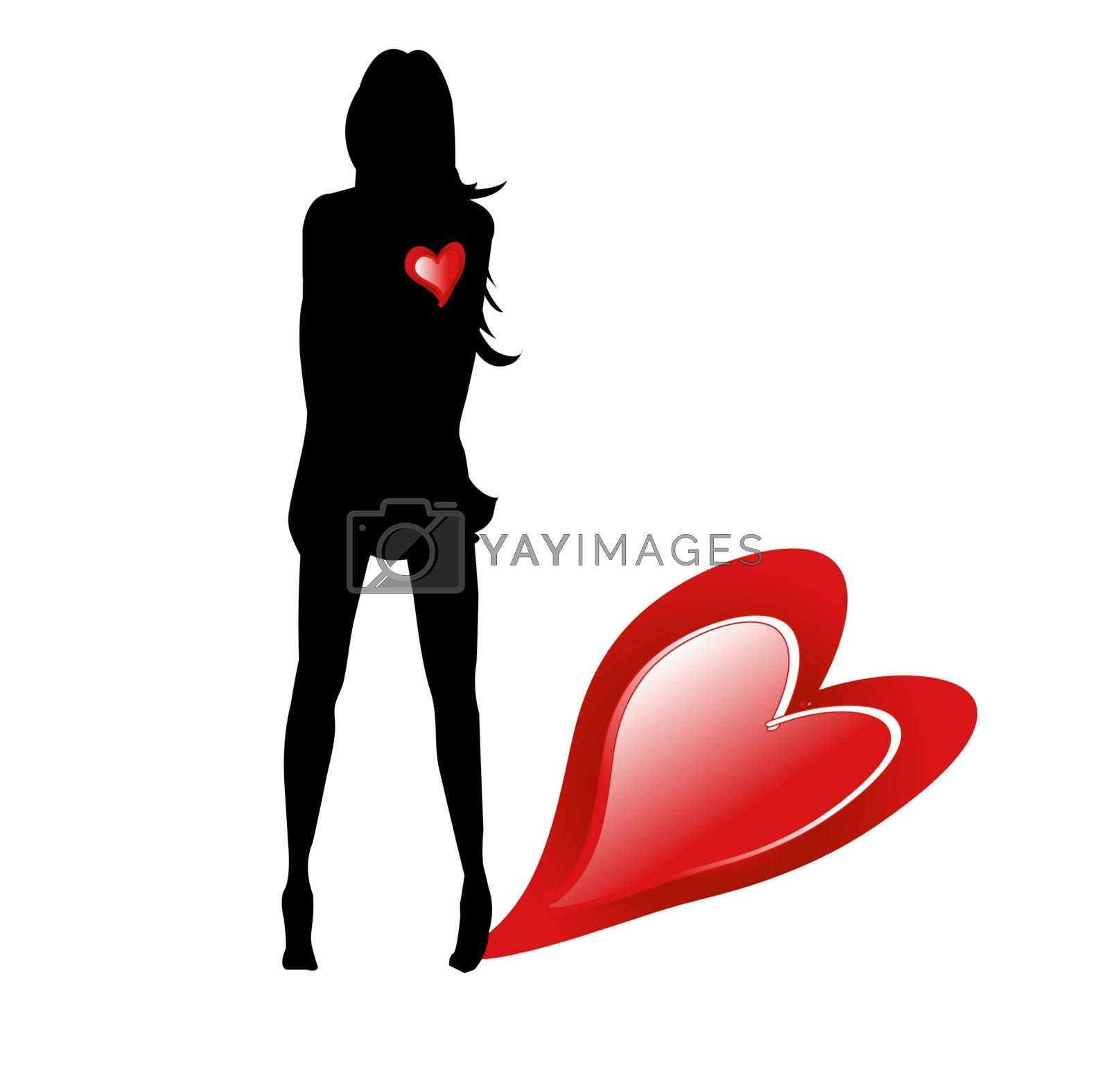 Silhouette of woman with red hearts on white background as idea on the day San Valentino