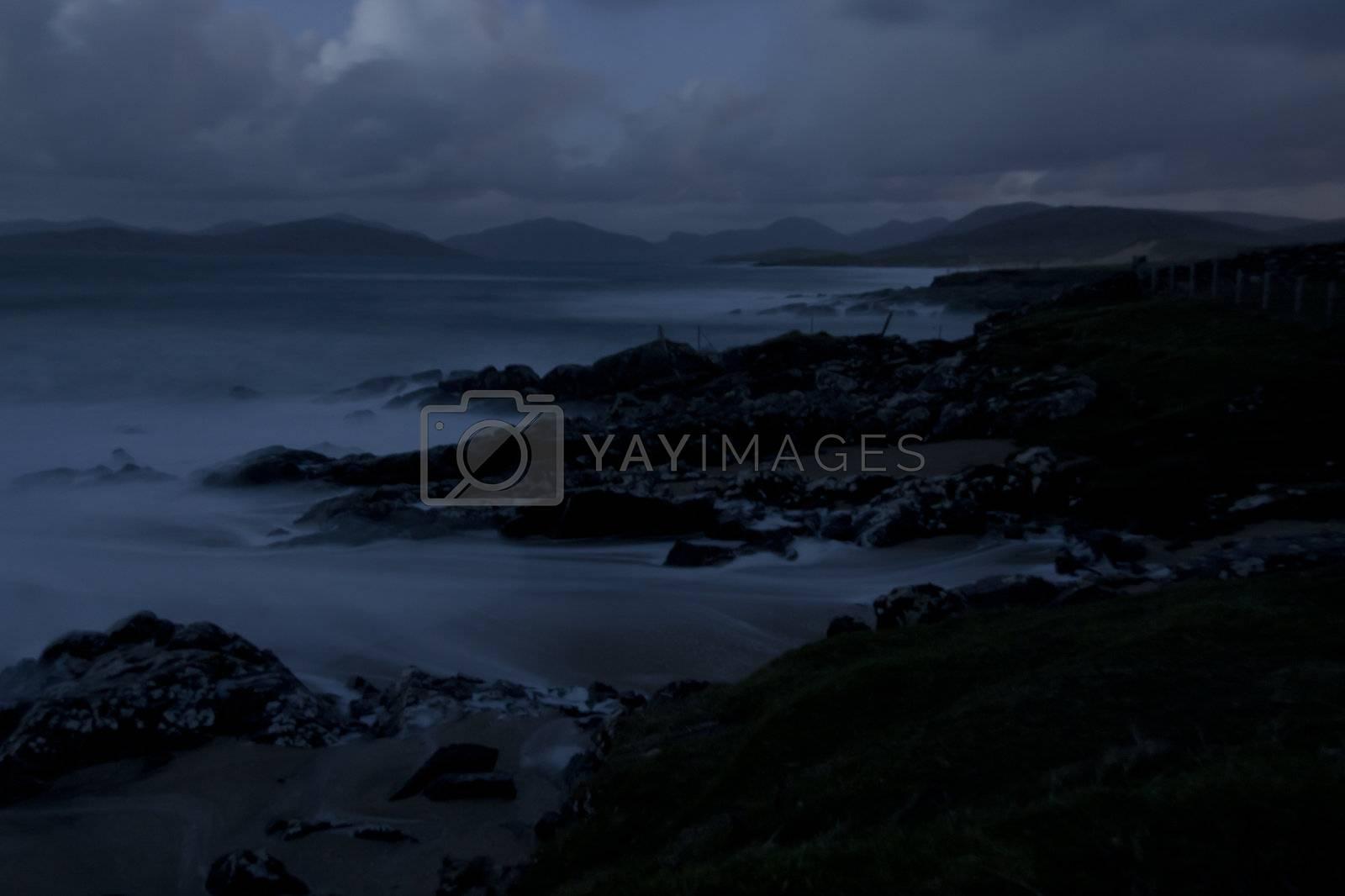 mystic coastal landscape in the night. scotland, europe
