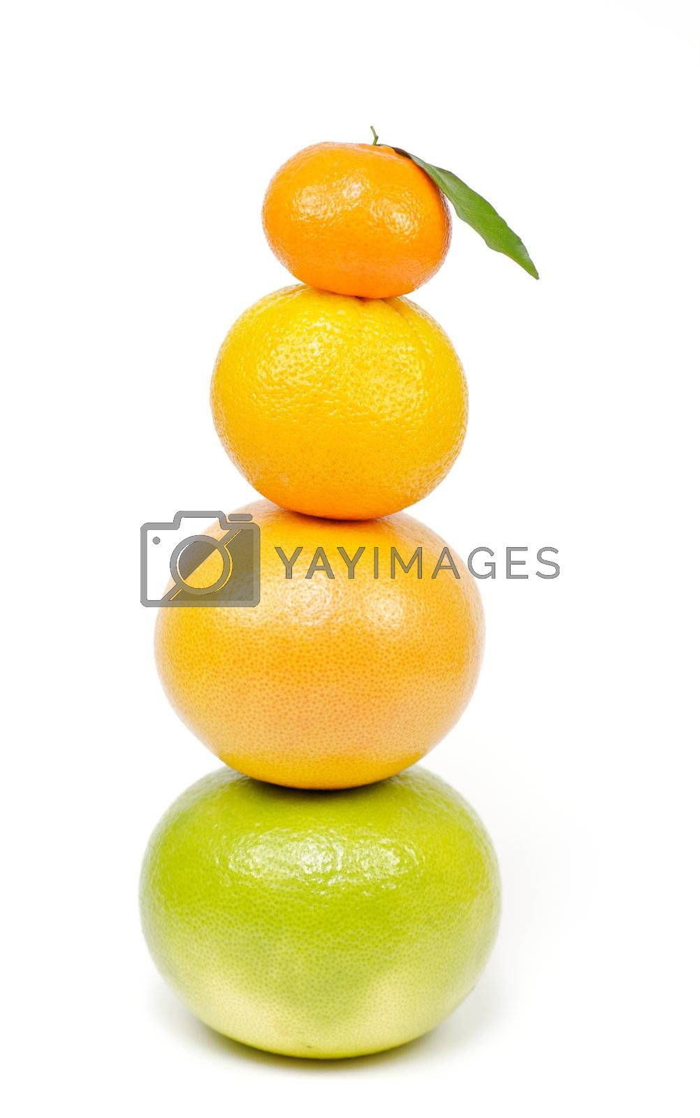 Pyramid from pummel, grapefruit, orange and tangerine on white background