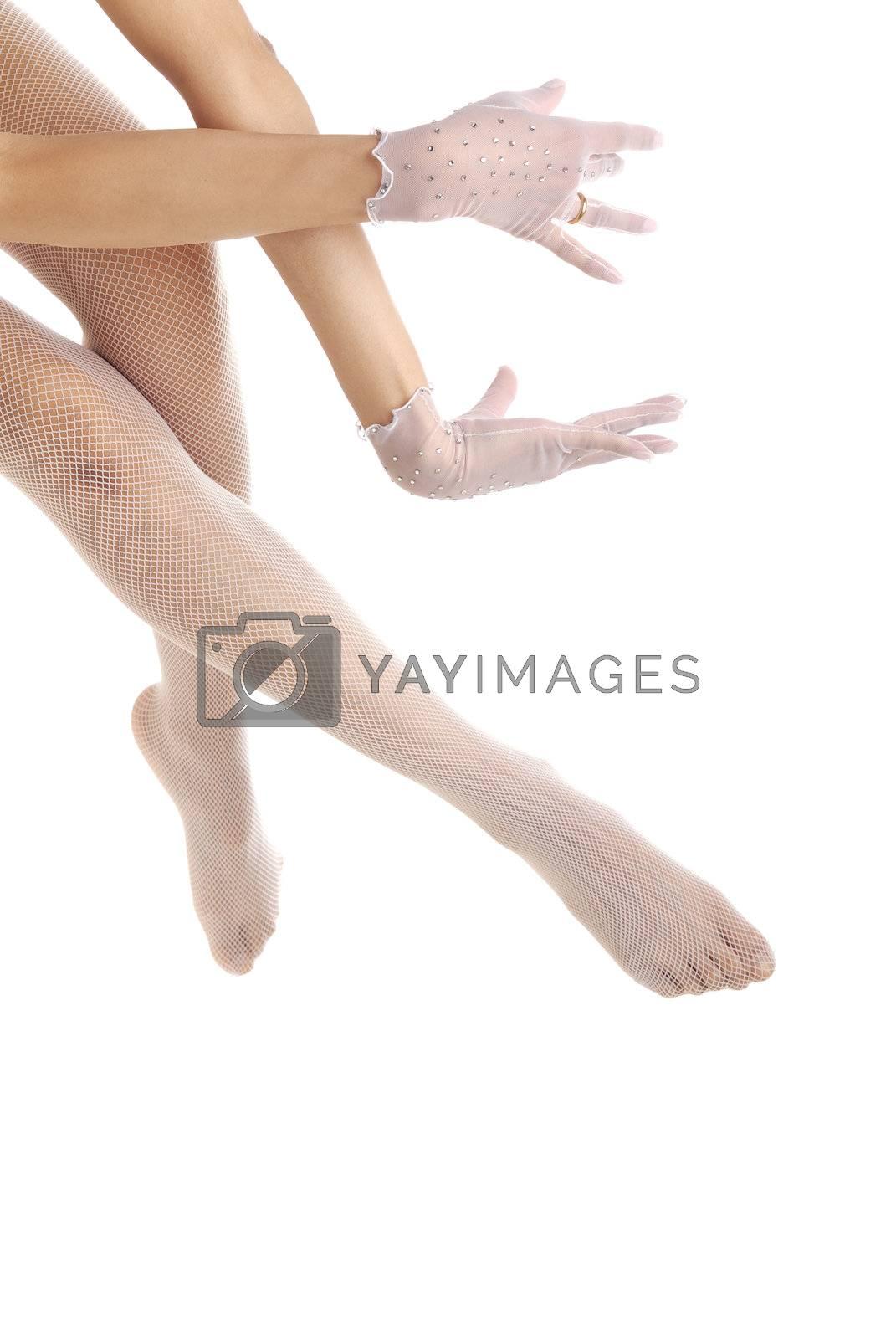 Elegant bridal legs and hands dancing ballet
