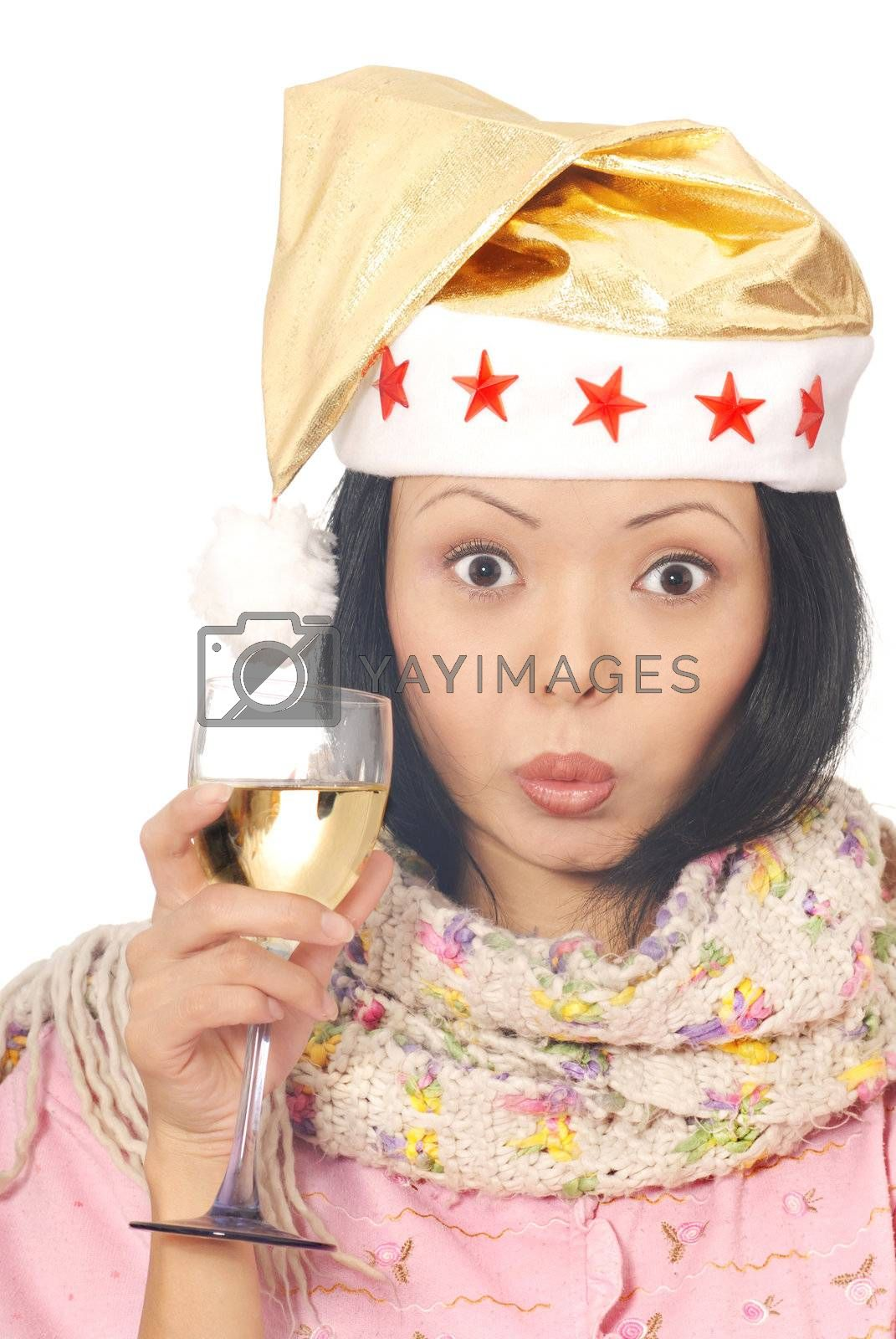 Photo of the woman in Santa Claus costume with wineglass
