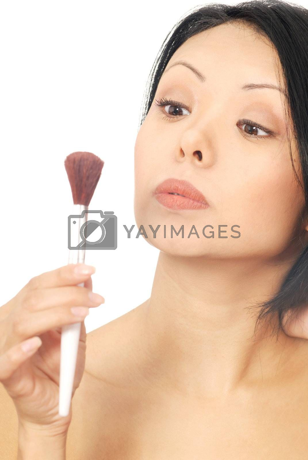 Isolated photo of the sensual woman with makeup brush