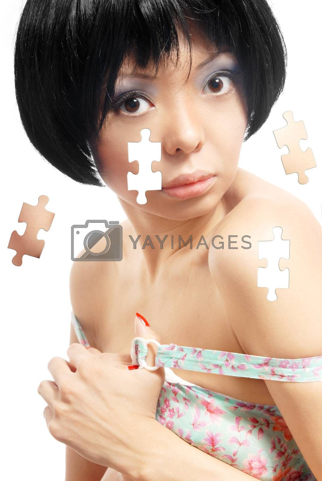 Sensual photo of the model with puzzle effect on her skin