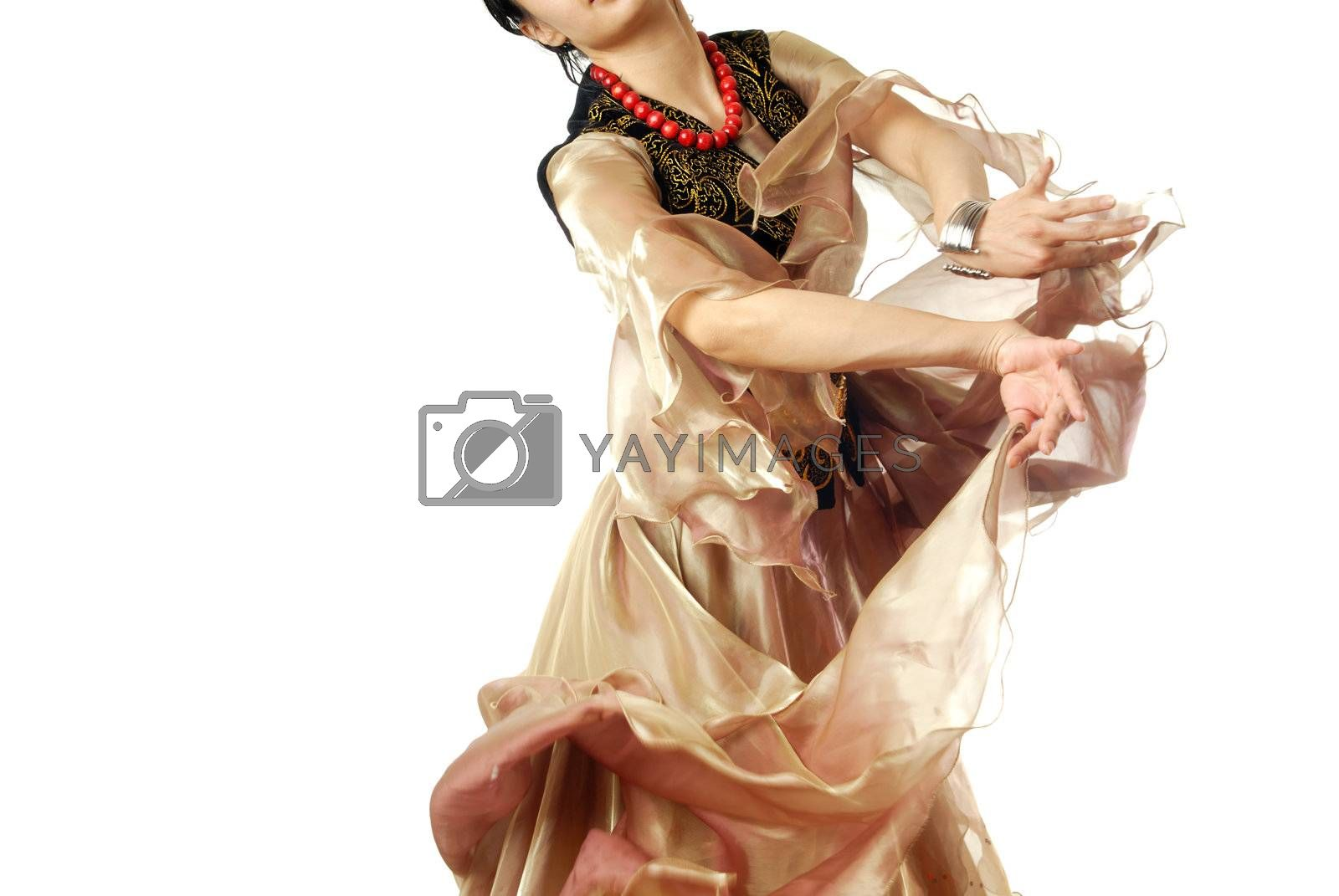 Dancing woman on a white background in oriental costume