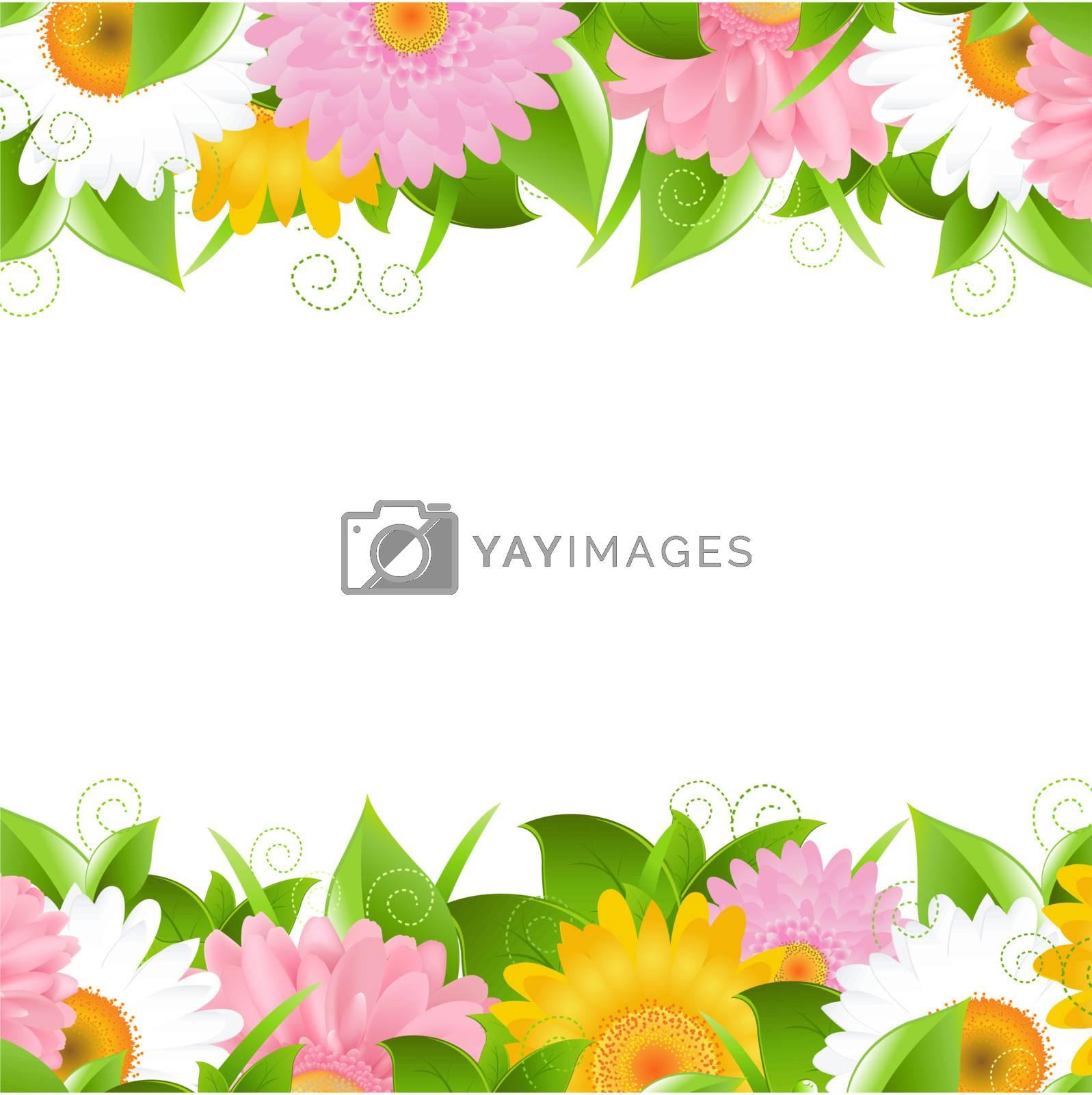 Flower And Leaves Border, Vector Illustration