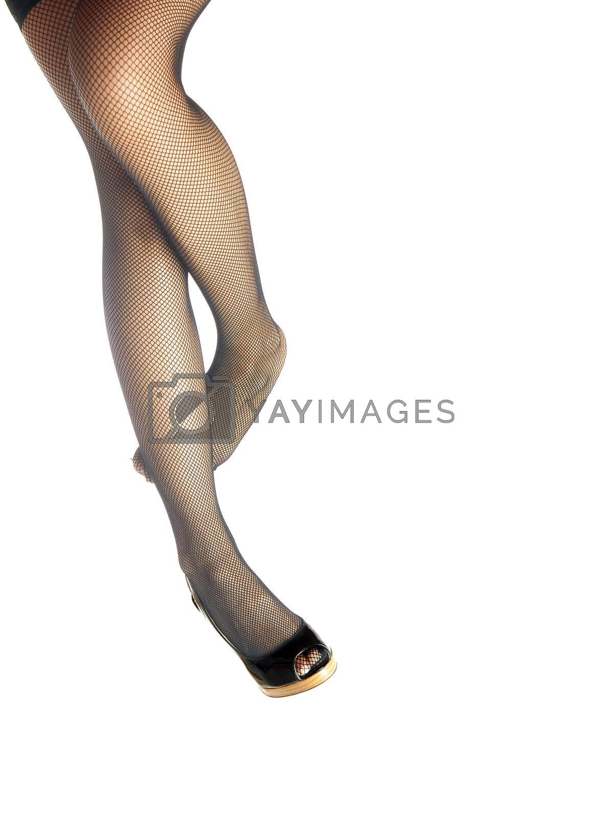 Photo of the woman legs in leotards with black shoe