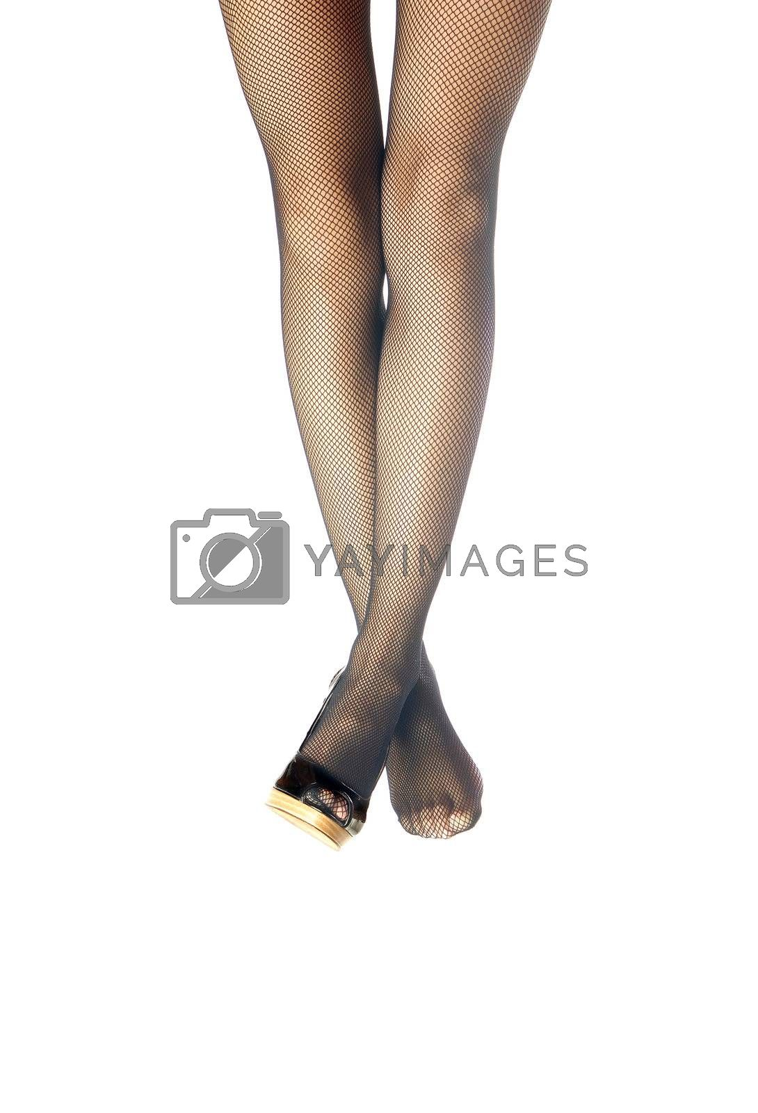 Woman legs on a white background with shoe and barefoot