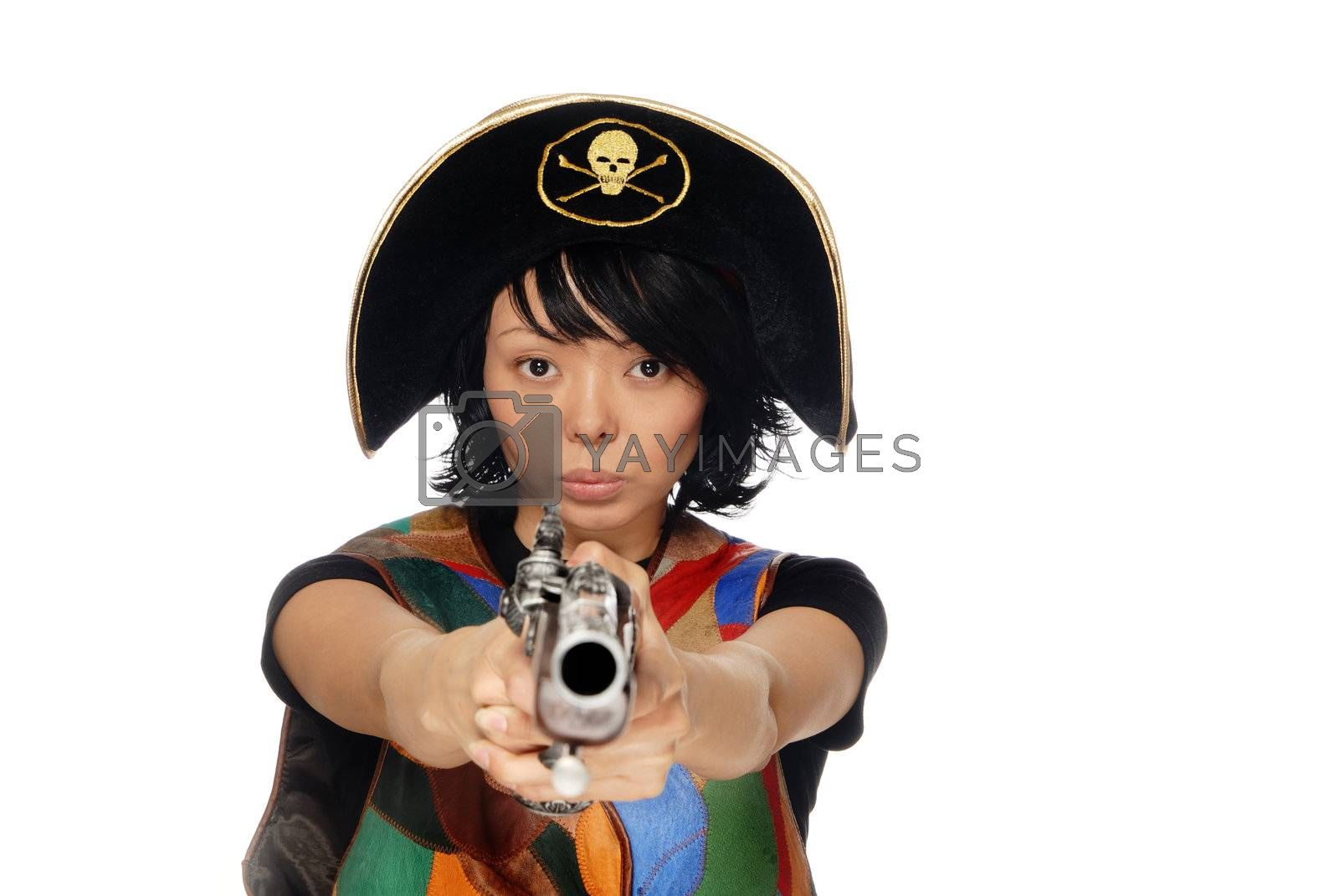 Portrait of the young shooting woman in pirate hat