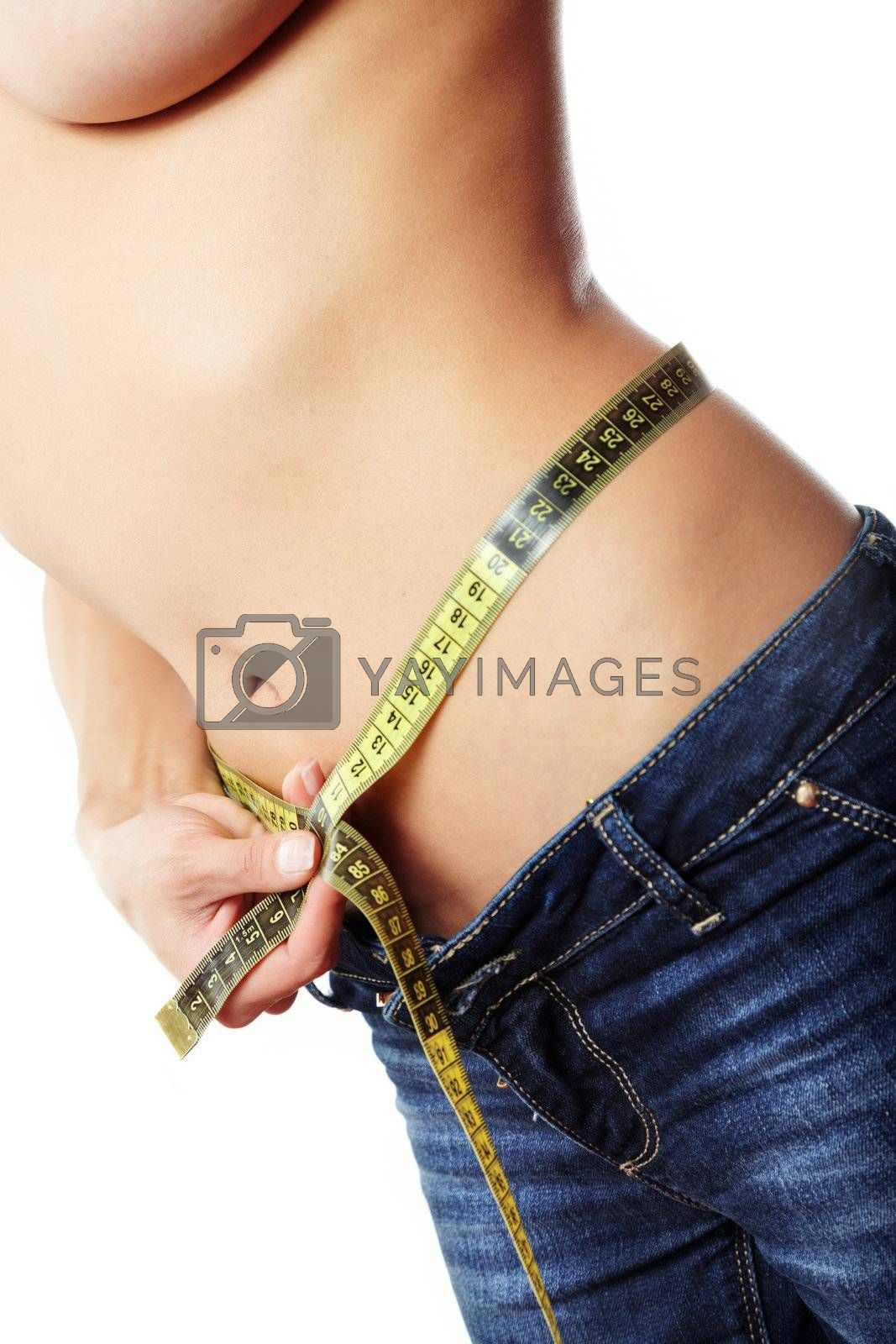 Woman body in jeans with tape-line