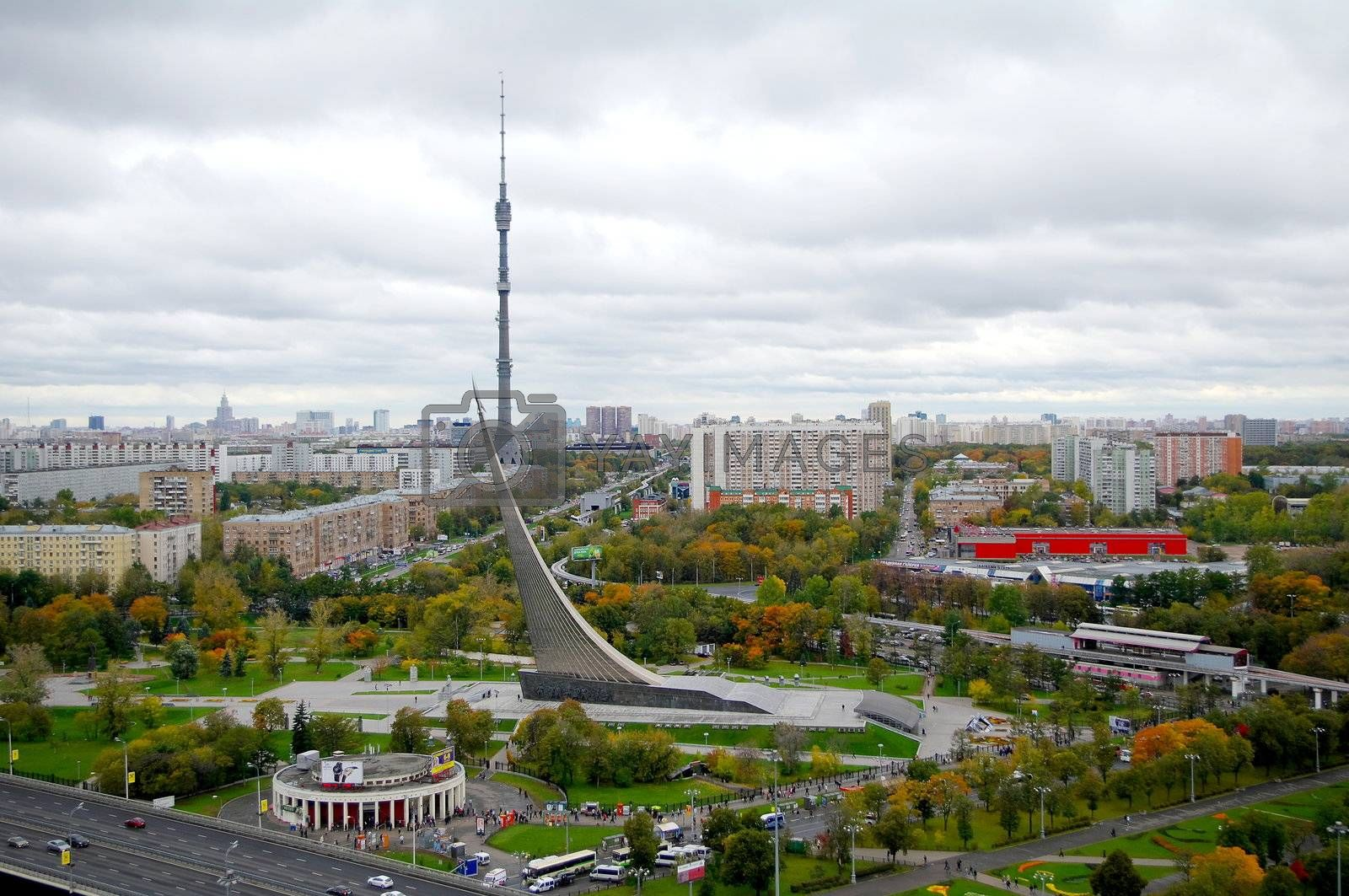 Panorama of central museum of Astronautics and Ostankino tower in Moscow, Russia