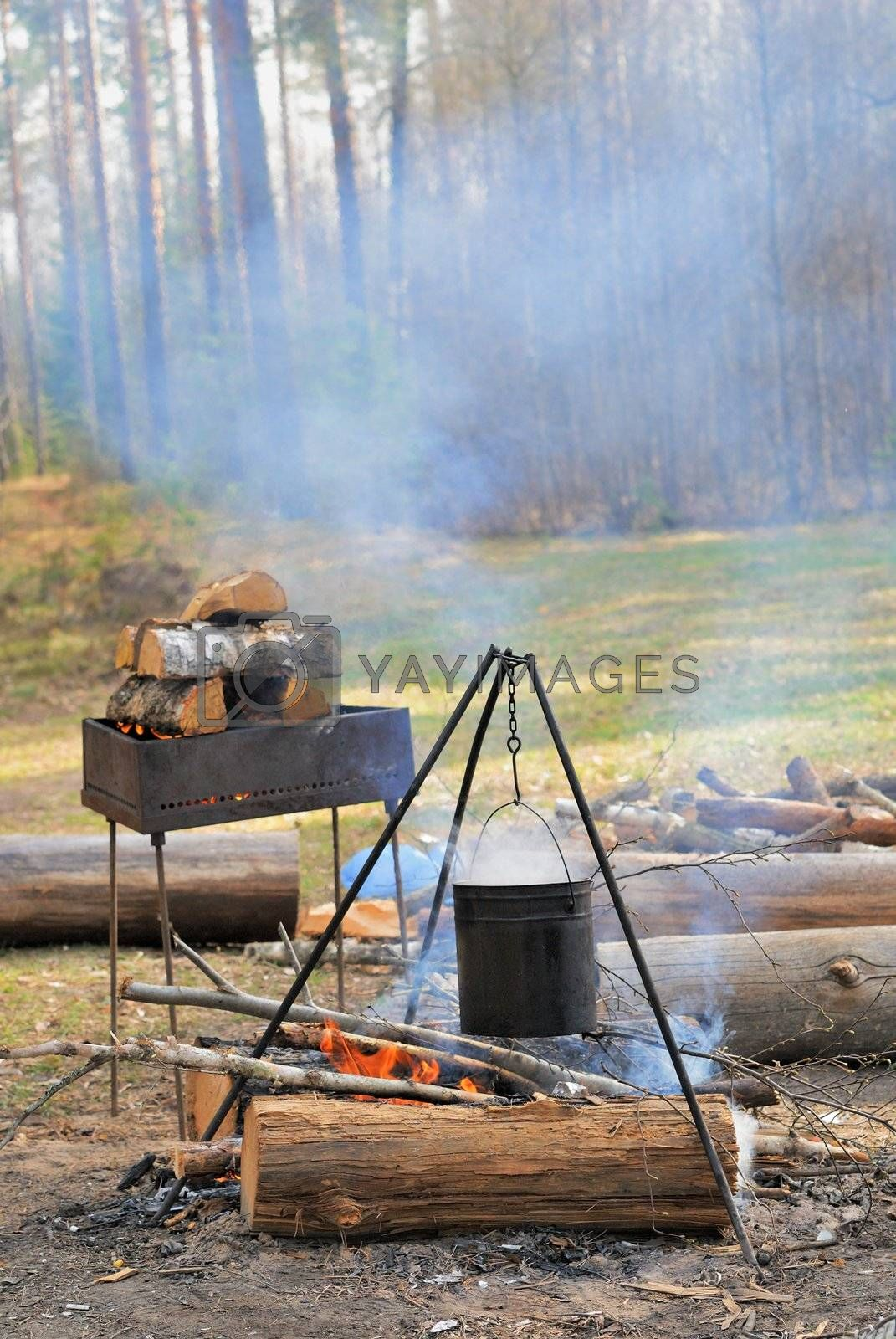 Royalty free image of Kettle over campfire by grauvision