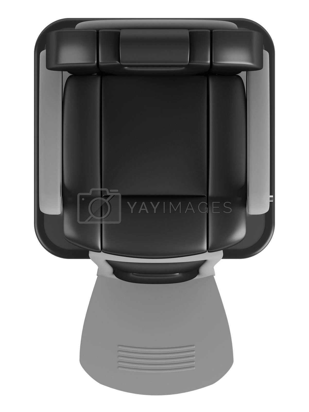 Black hairdressing salon chair isolated on white background