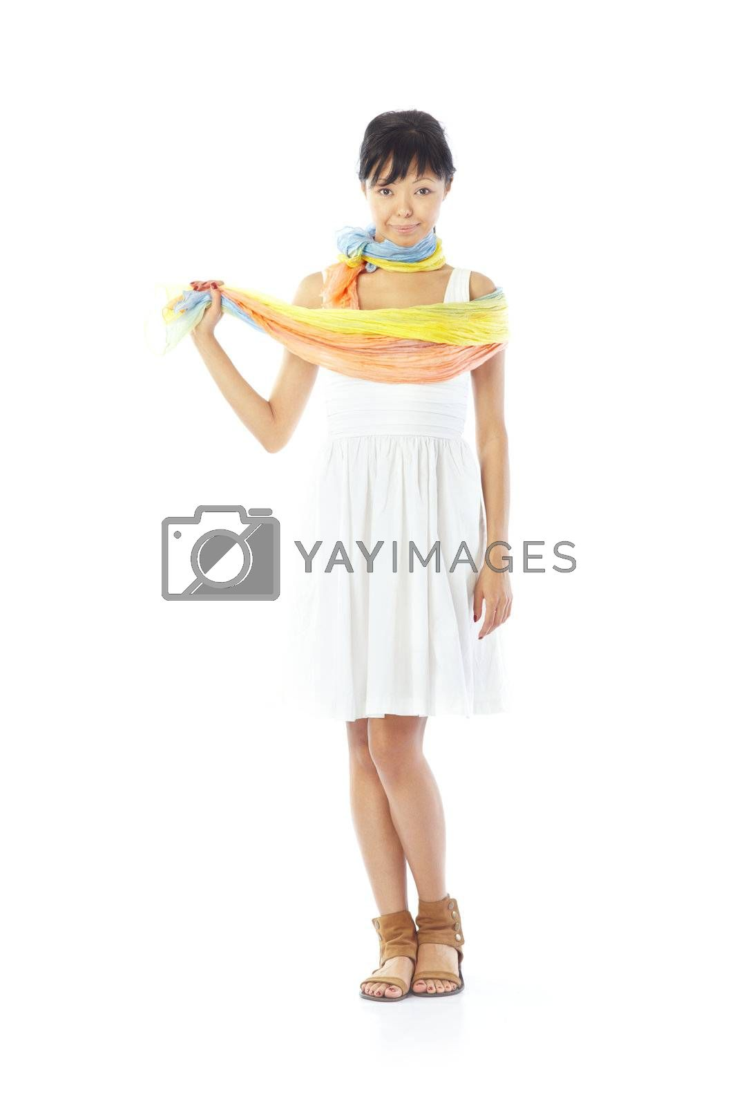 Smiling lady in the stylish dress and scarf on a white background