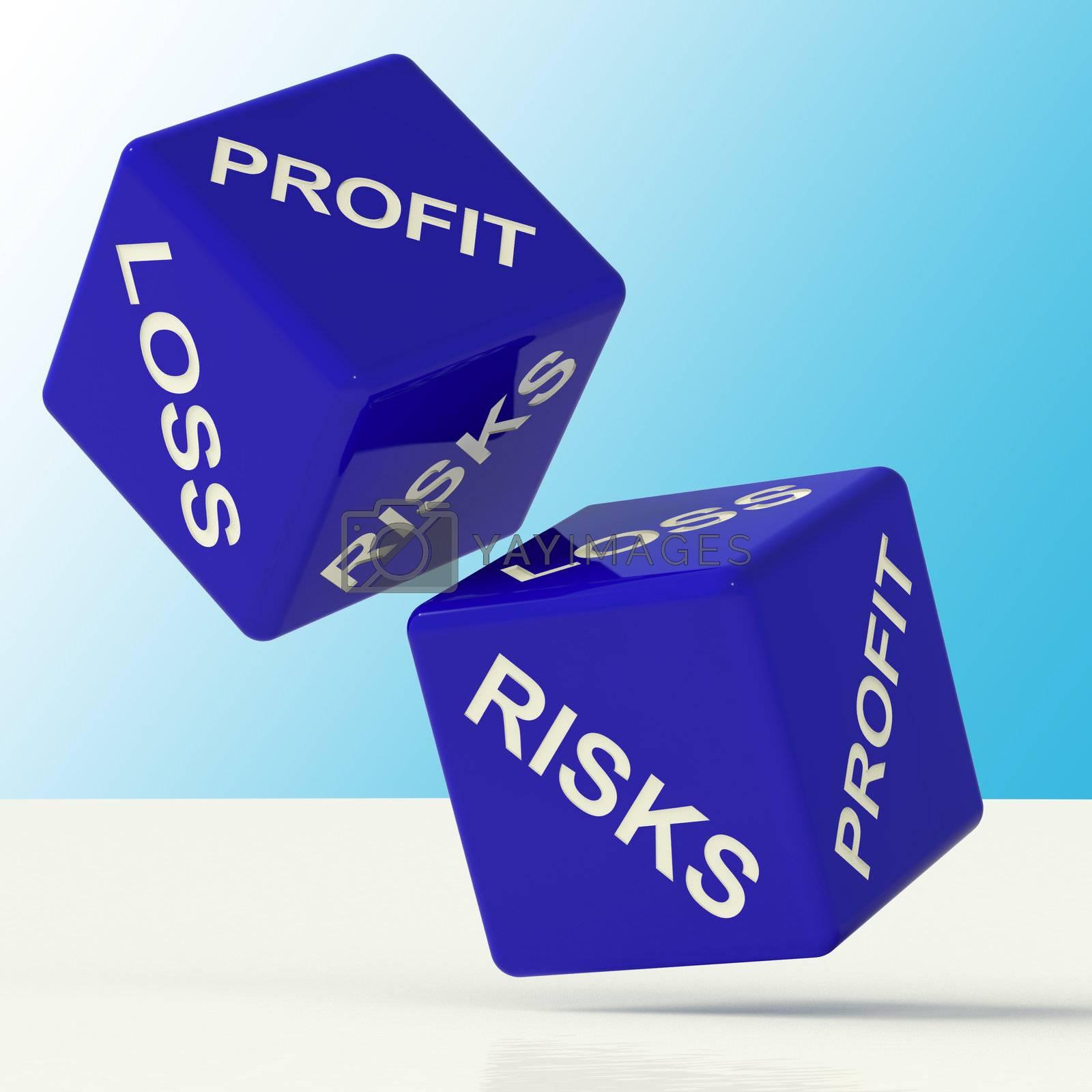 Profit Loss And Risks Blue Dice Showing Market Risk