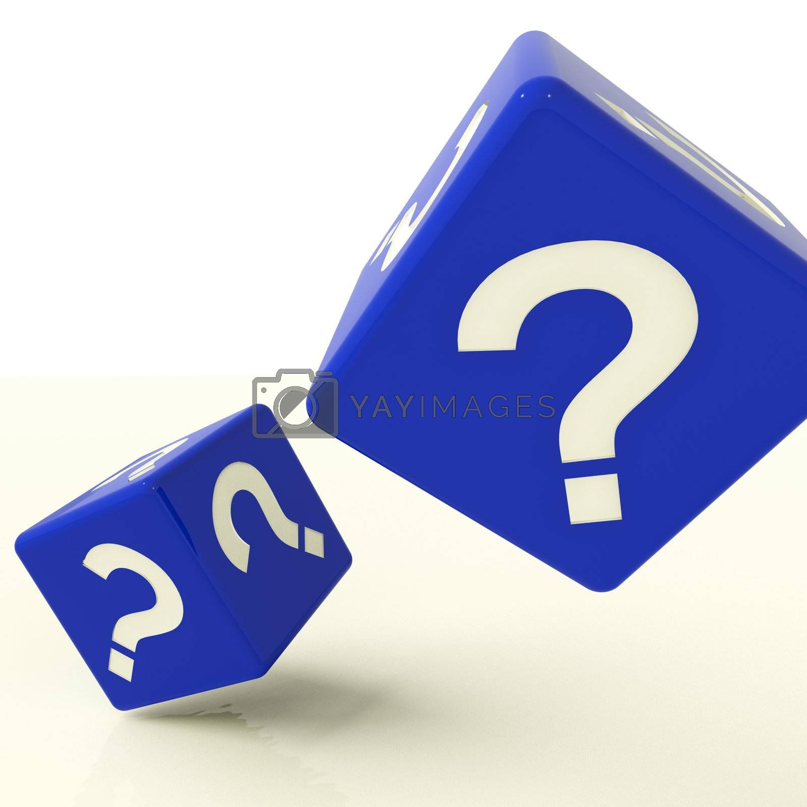 Question Mark Blue Dice As Symbol For Questions And Answers