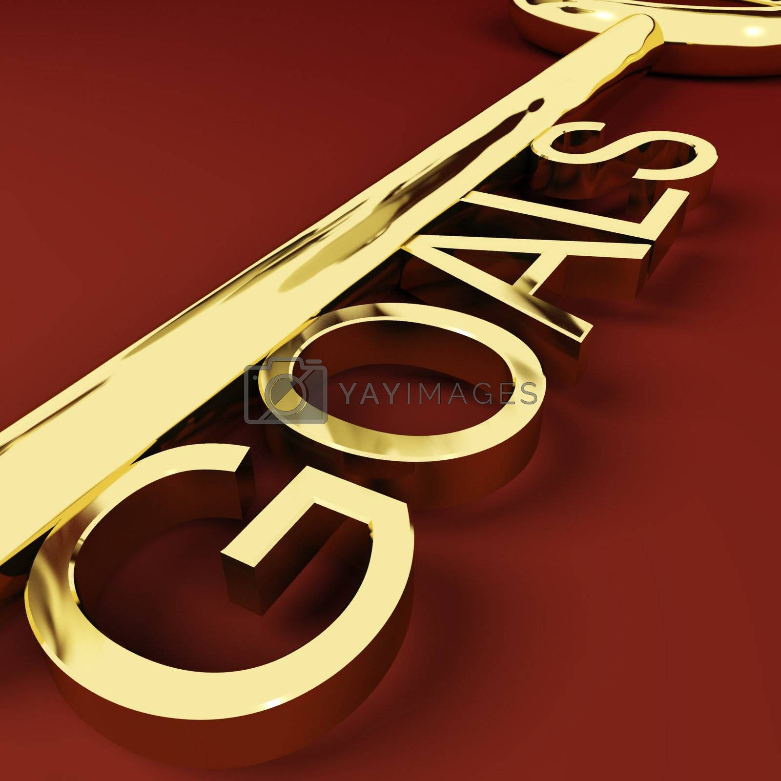 Goals Gold Key Representing Aspirations And Intent